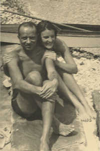 Mario Pansa and a friend in swimsuits