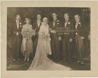 Portrait photograph of Sidney and Gertrude Legendre with their wedding party