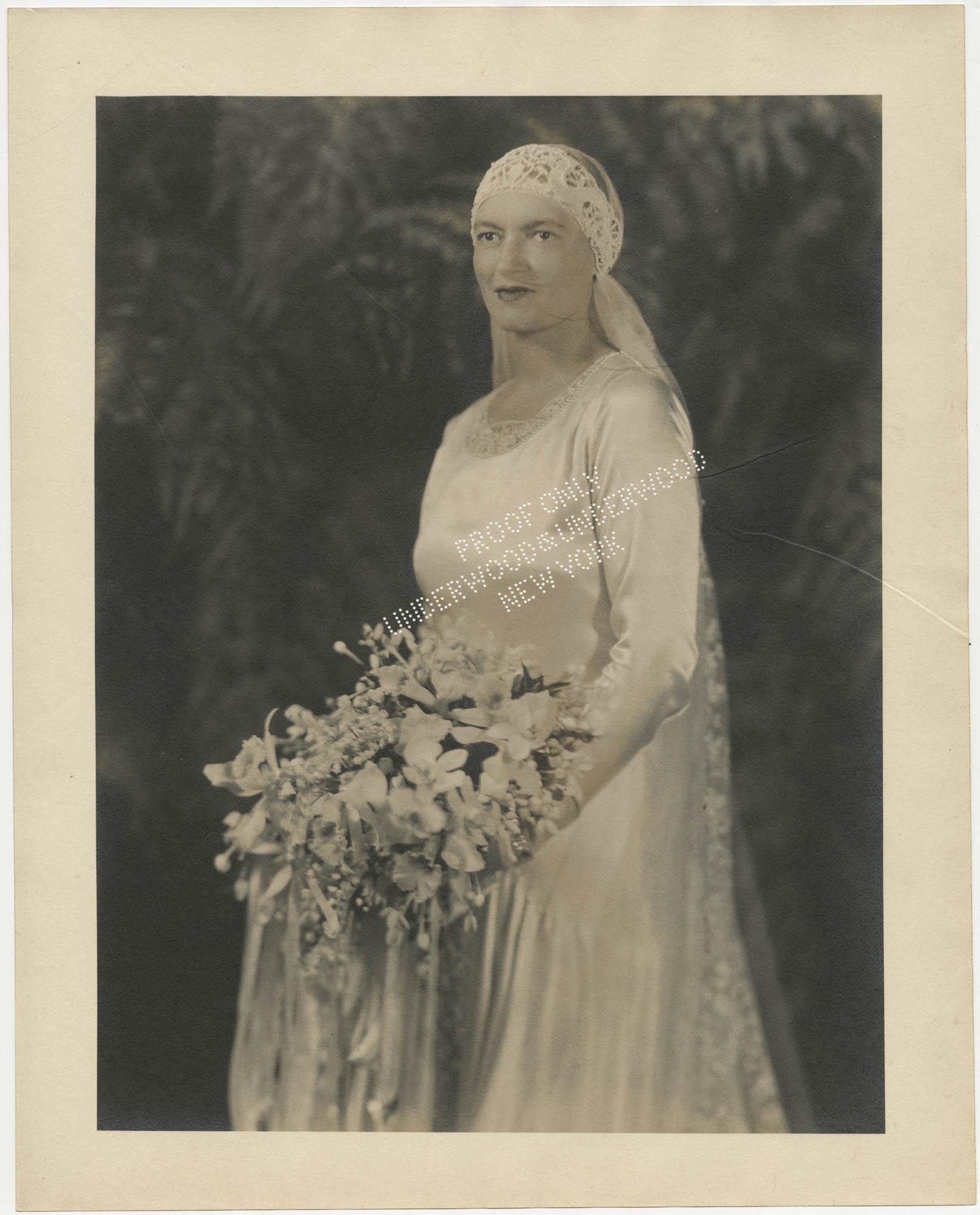 Bridal portrait photograph of Gertrude Legendre