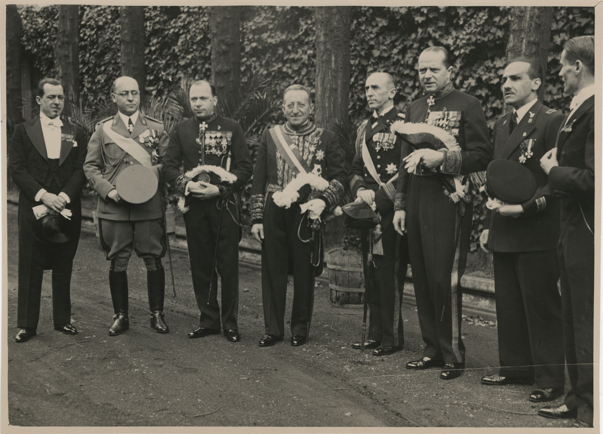 Mario Pansa and military officials in full dress uniform, Photograph 1