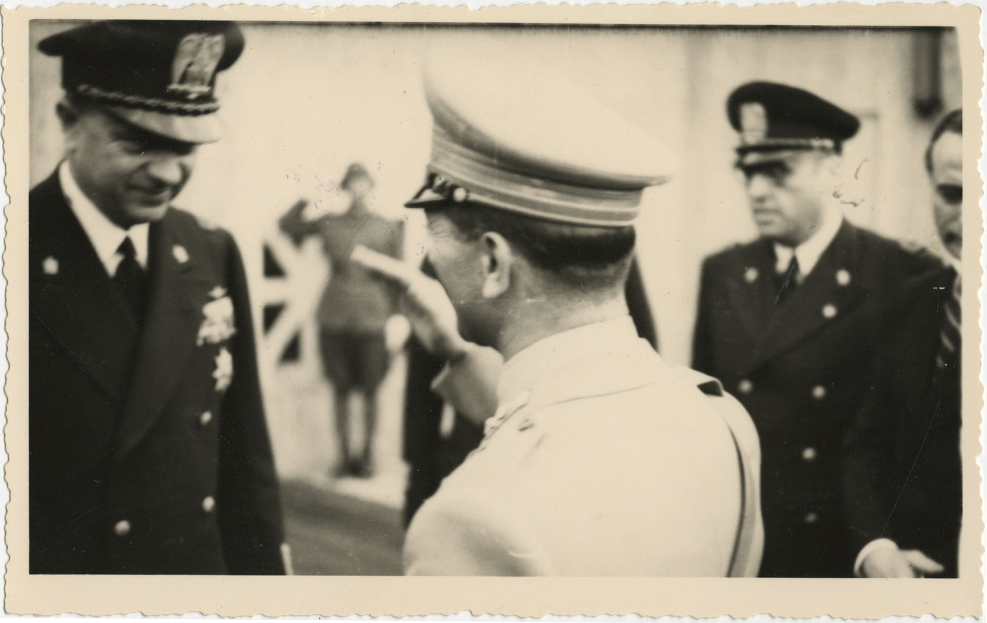 Mario Pansa greeting military personnel, Photograph 1