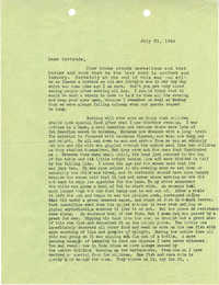 Letter 1 from Sidney Jennings Legendre, July 21, 1943