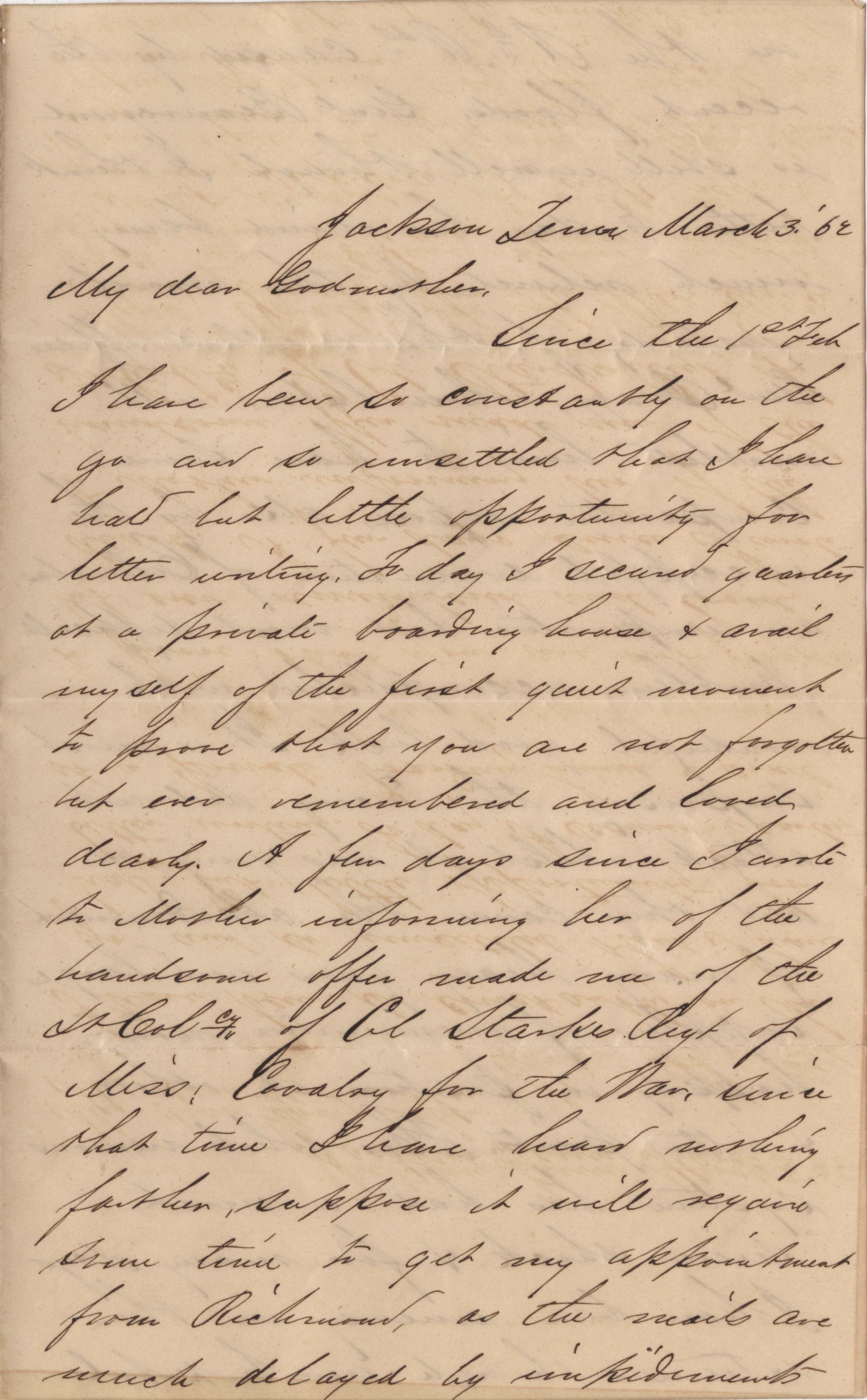 098. Samuel Wragg Ferguson to F.R. Barker (Godmother) -- March 3, 1862