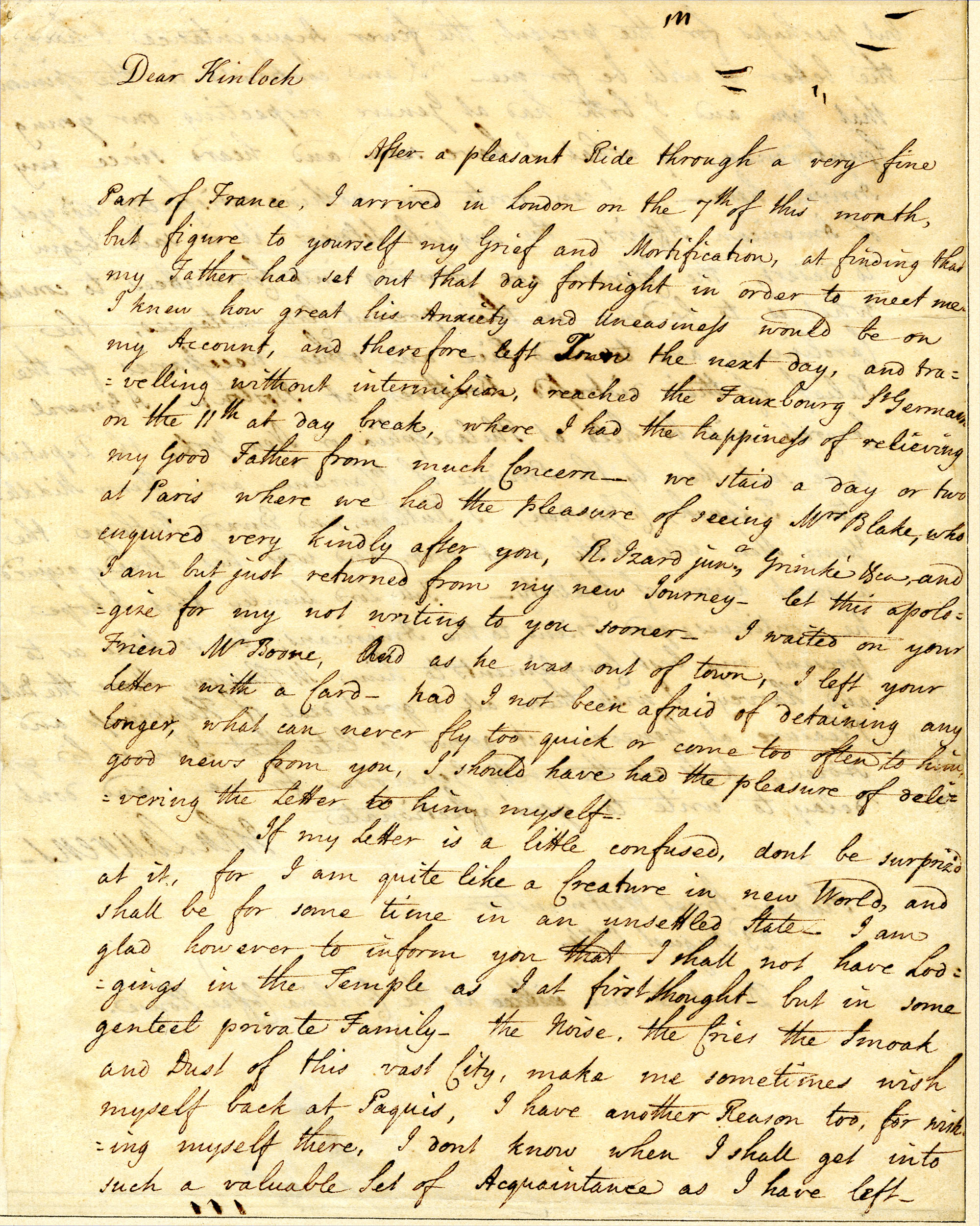 Letter from John Laurens to Francis Kinloch