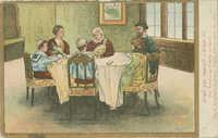 Der Versöhnung - Familie versammelt / Day of Atonement forgiving - Family gathered about the table / סדר הכפרות - להמשפחה סביב השולחן