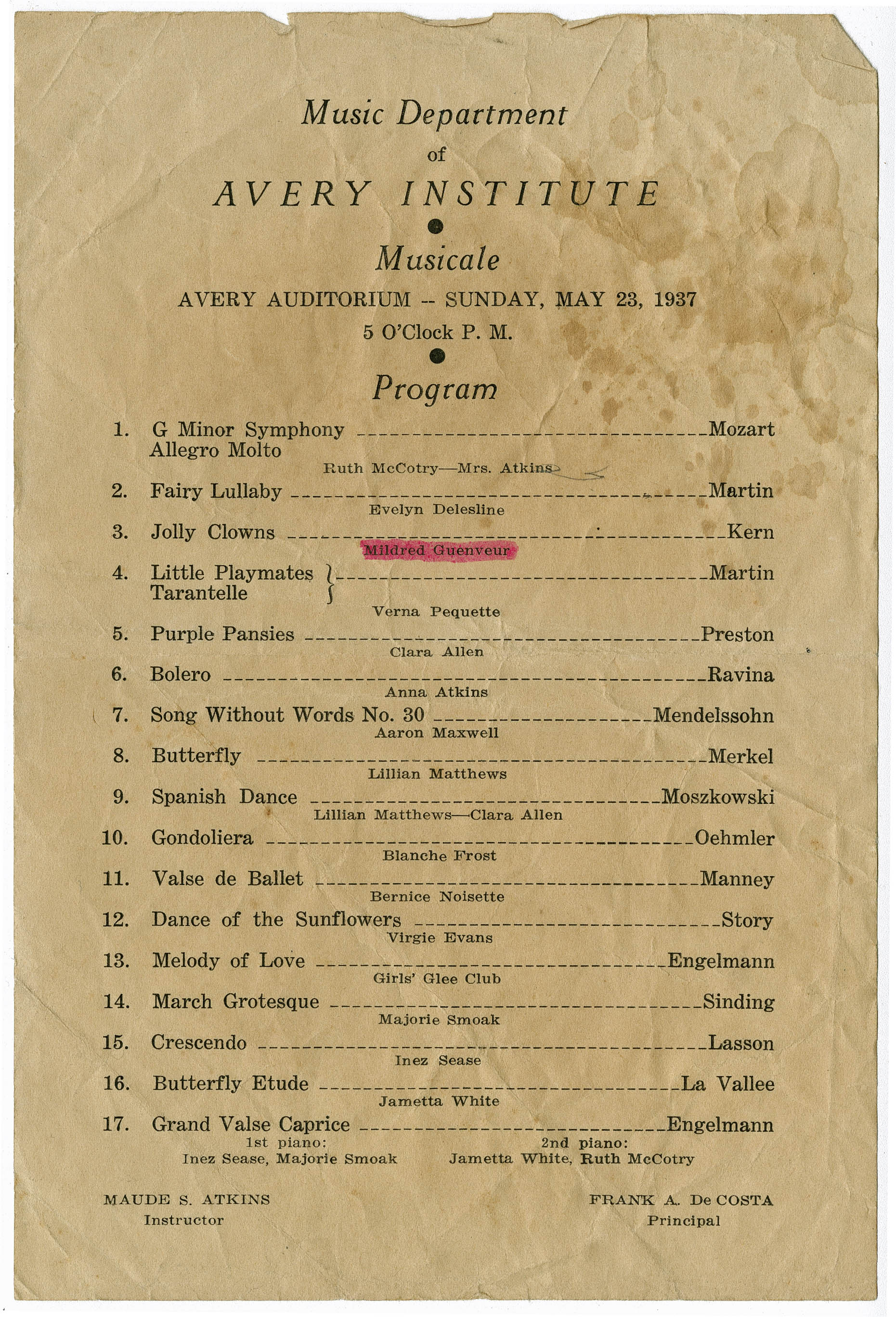 Program for Avery Music Department Musicale production