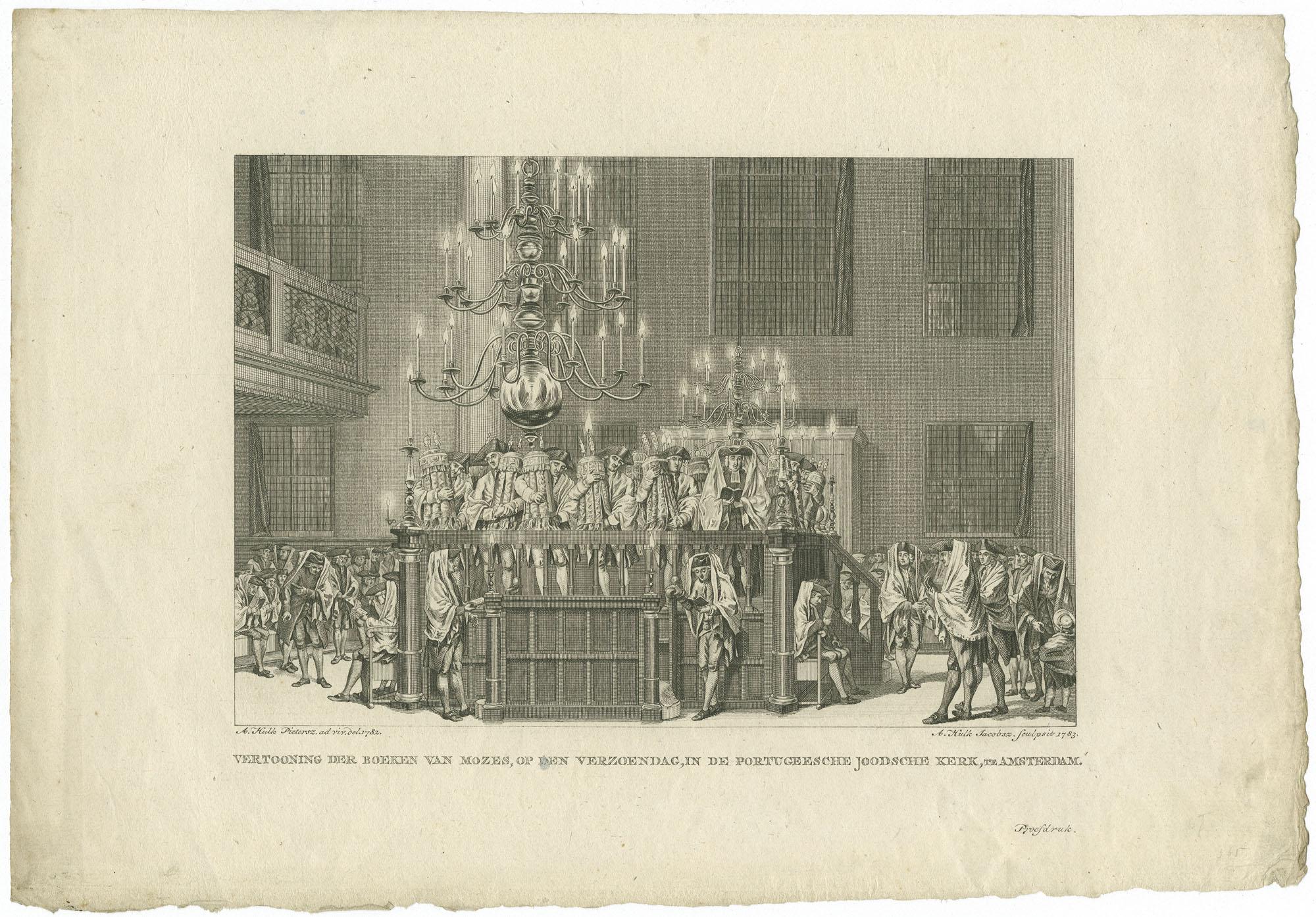 Vertooning der boeken van Mozes, op den Verzoendag, in de Portugeesche Joodsche Kerk, te Amsterdam