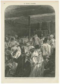 Le grand pardon des juifs, ou fête du Yom Kippour, dans une synagogue de la rue de Saint-Louis-en-l'Isle