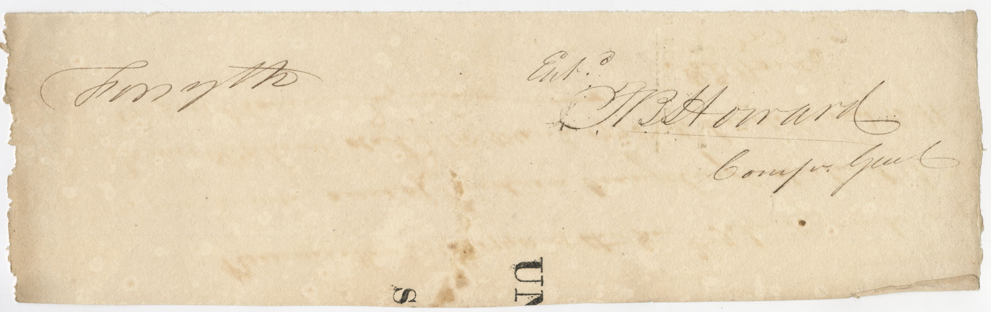 Thomas S. Grimke Autograph Collection, autograph of [Thacker] B. Howard, Comptroller General of Georgia, undated