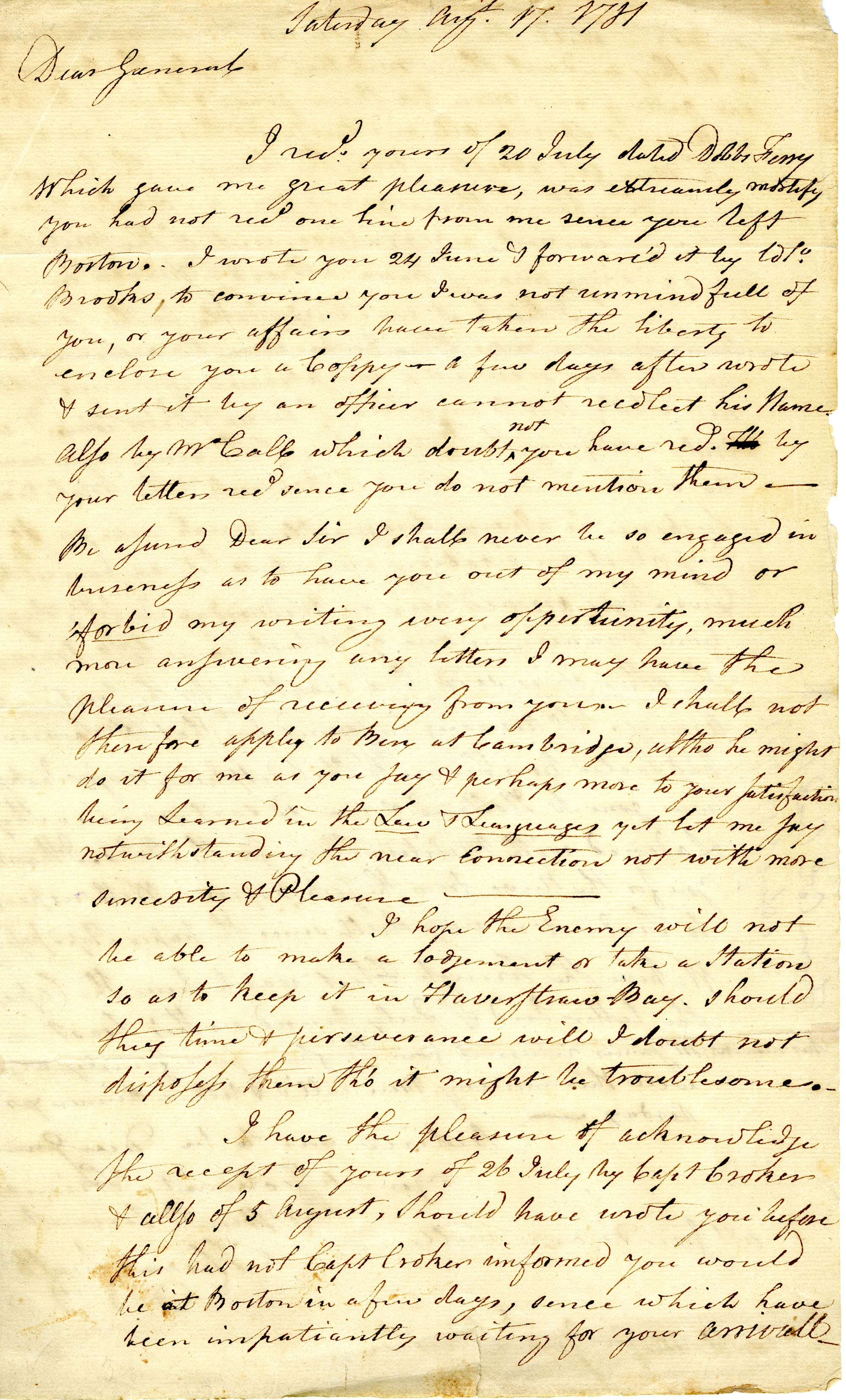 Letter from Thomas Crafts to Benjamin Lincoln