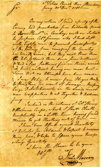Letter from Francis Marion to Nathanael Greene