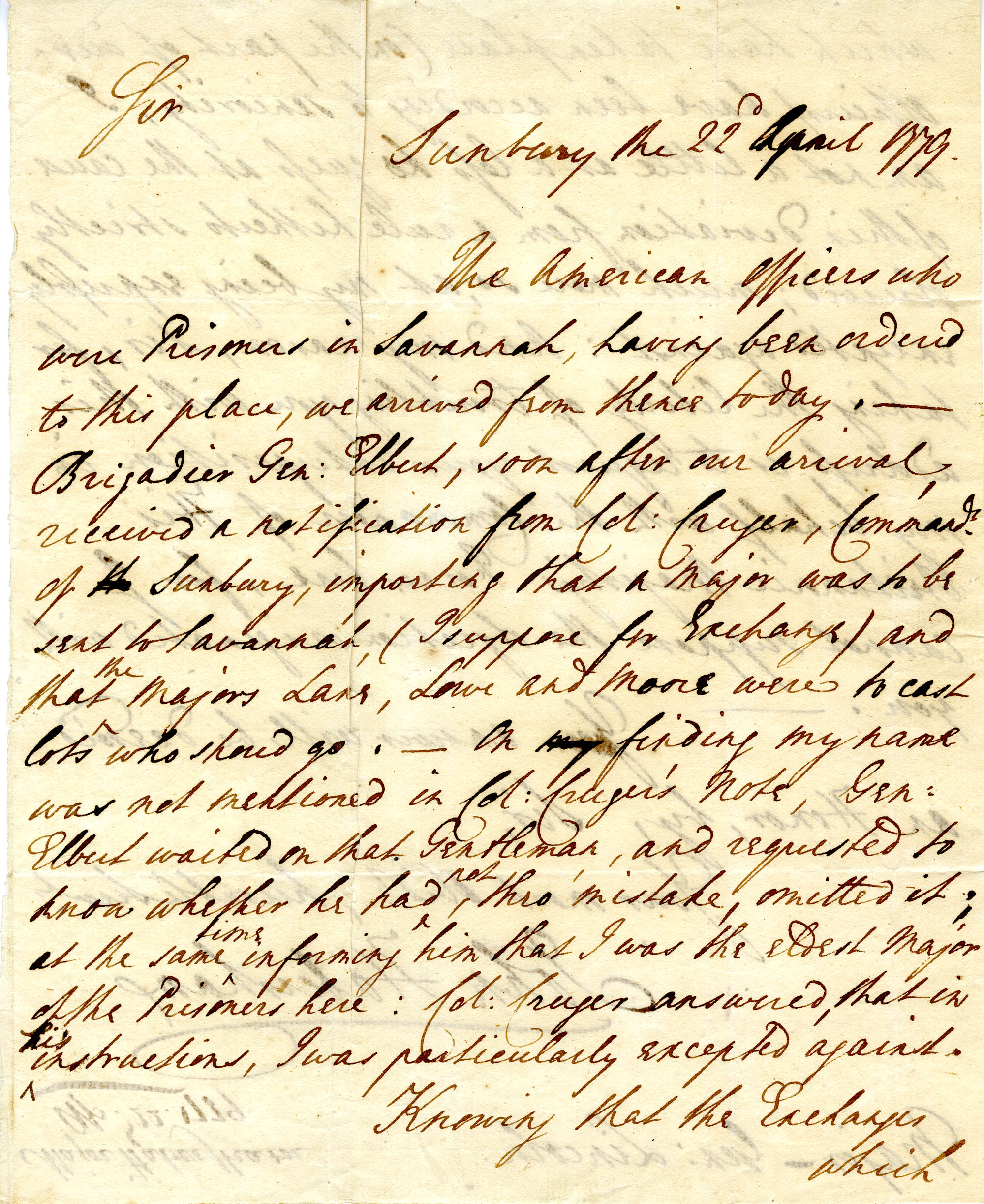 Letter from John Habersham to Benjamin Lincoln