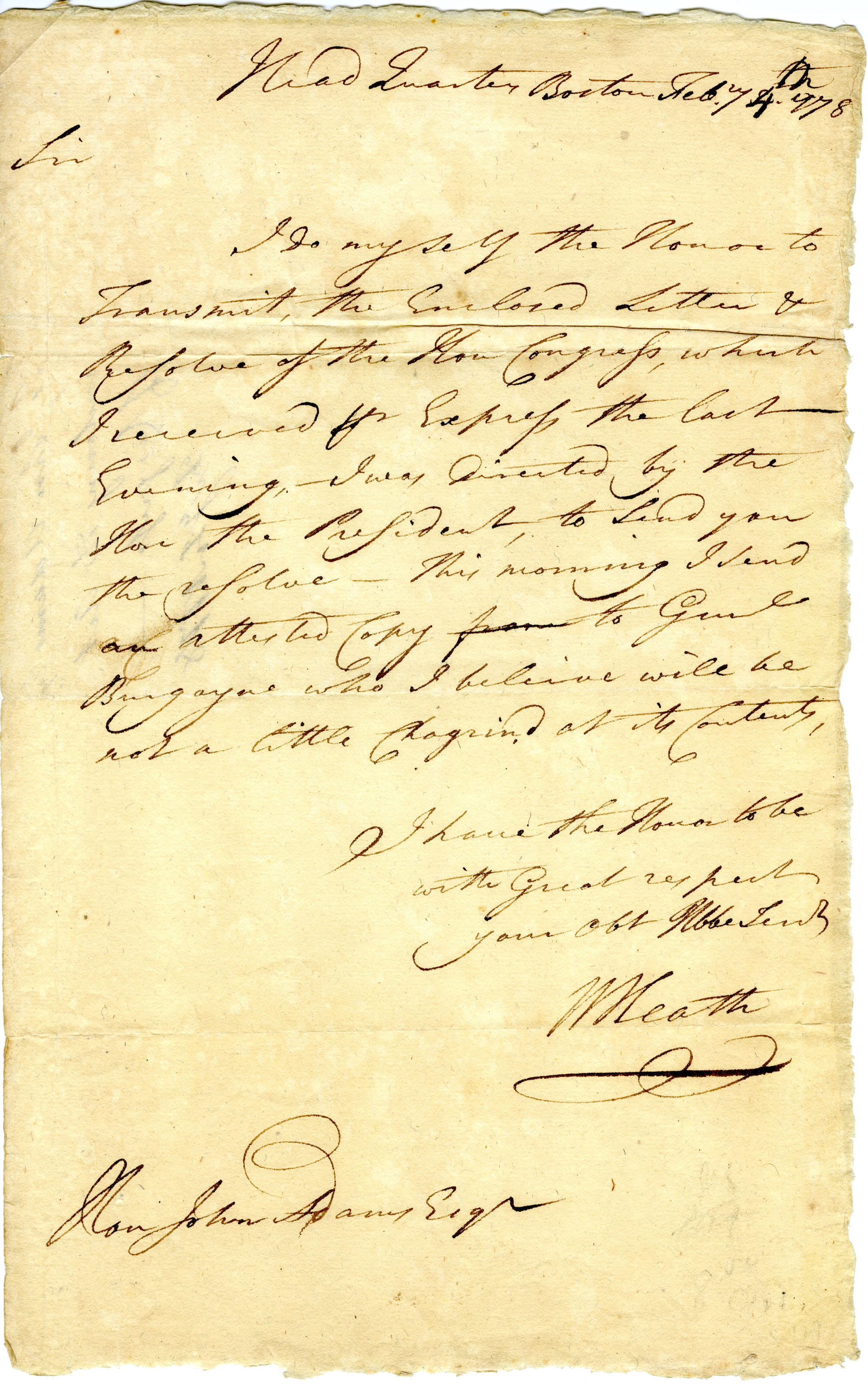Letter from William Heath to John Adams