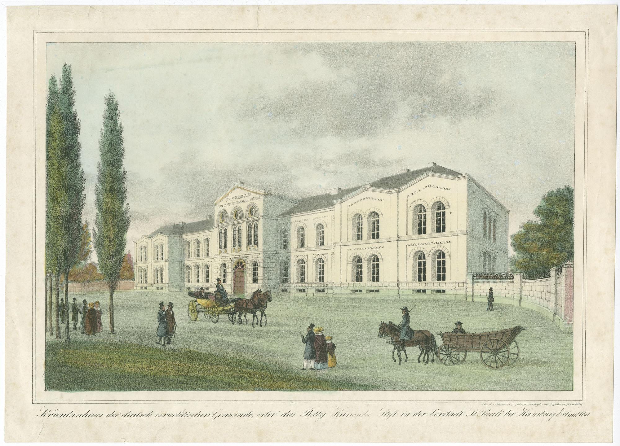 Krankenhaus der deutsch israelitischen Gemeinde, oder das Betty Heinesche Stift, in der Vorstadt St. Pauli bei Hamburg. Erbaut 1841.