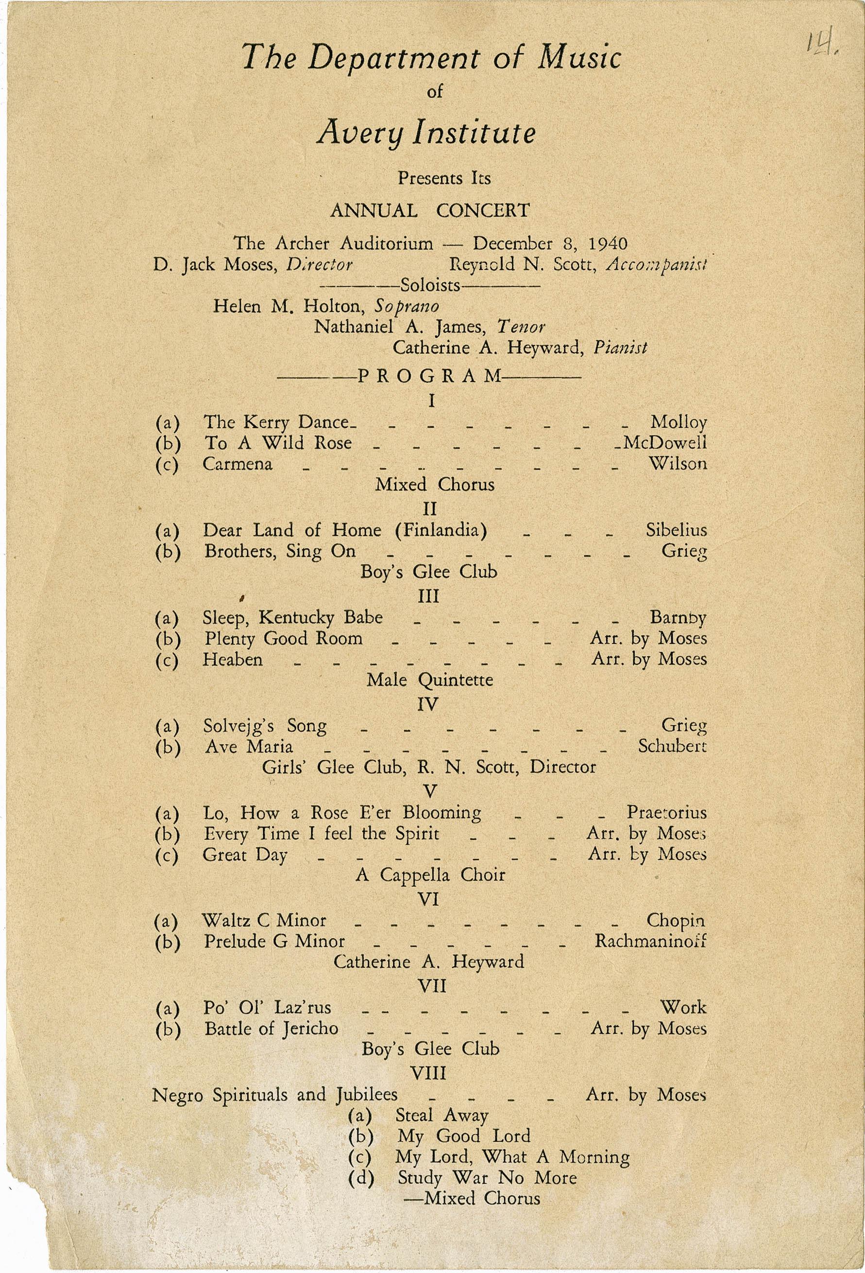 Program for Annual Concert