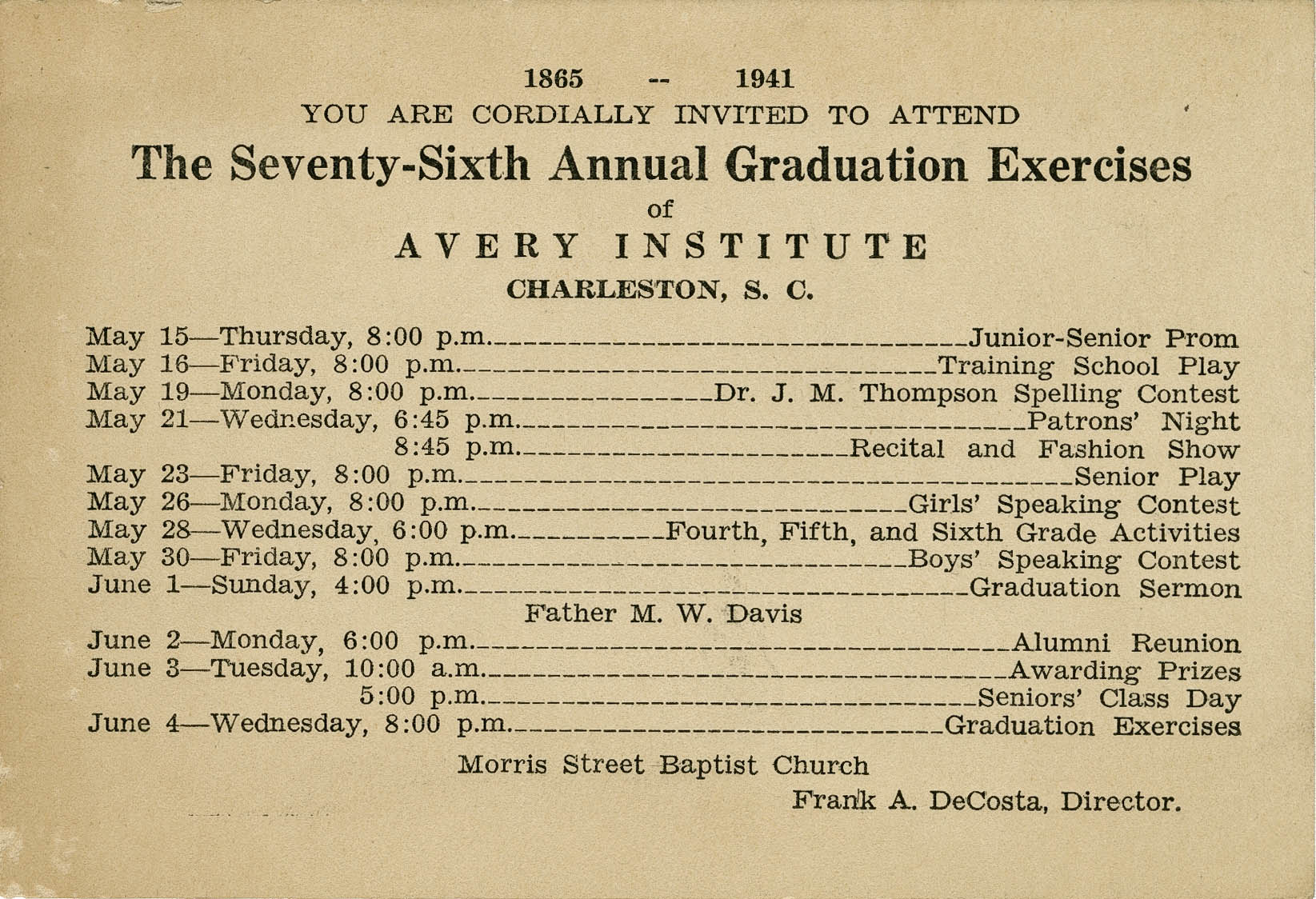 Invitation to seventy-sixth commencement exercises