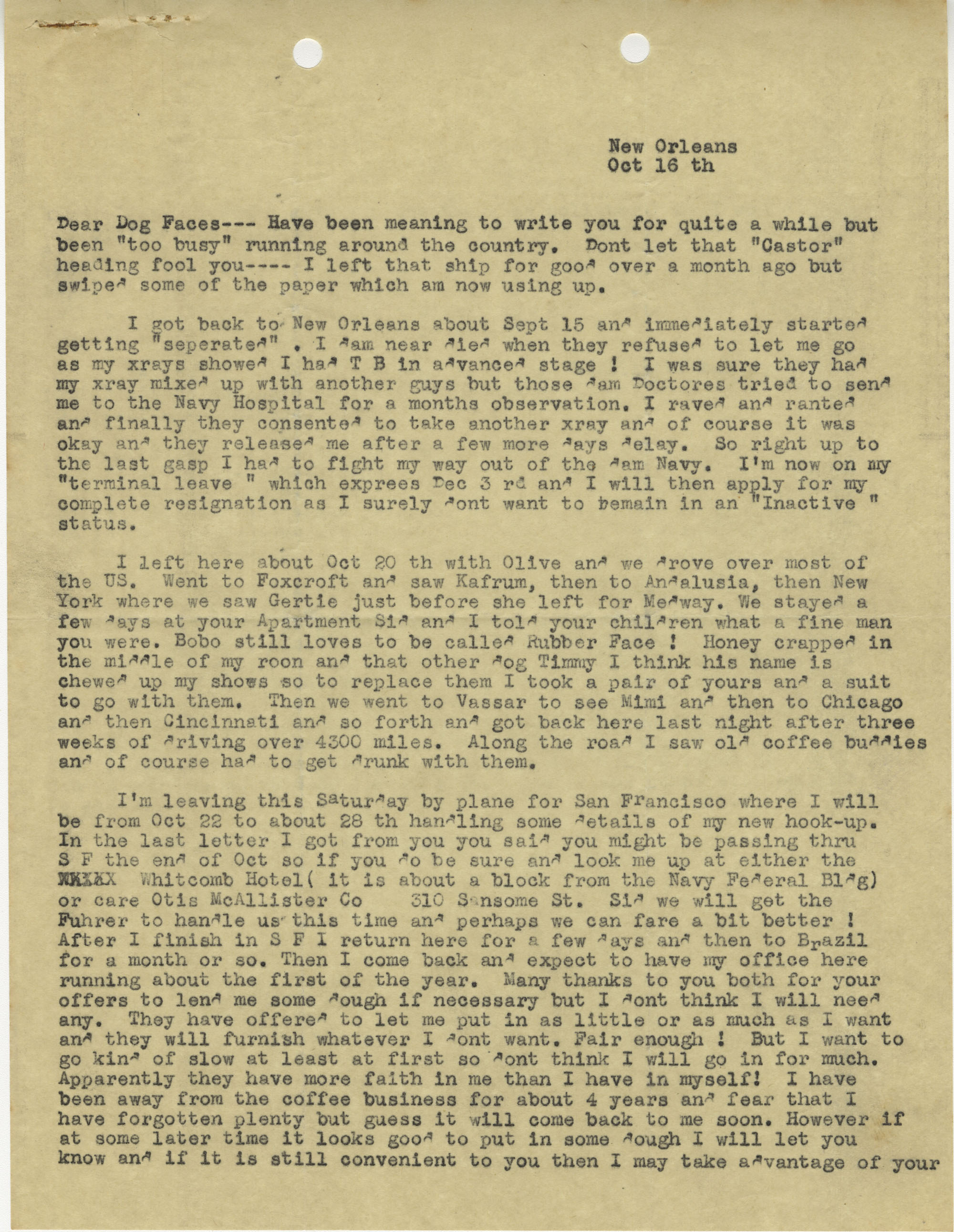 Letter from Armant Legendre, October 16, 1945