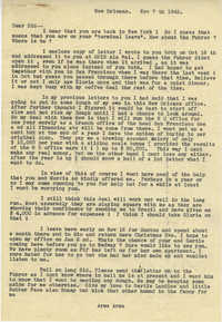 Letter from Armant Legendre, November 7, 1945