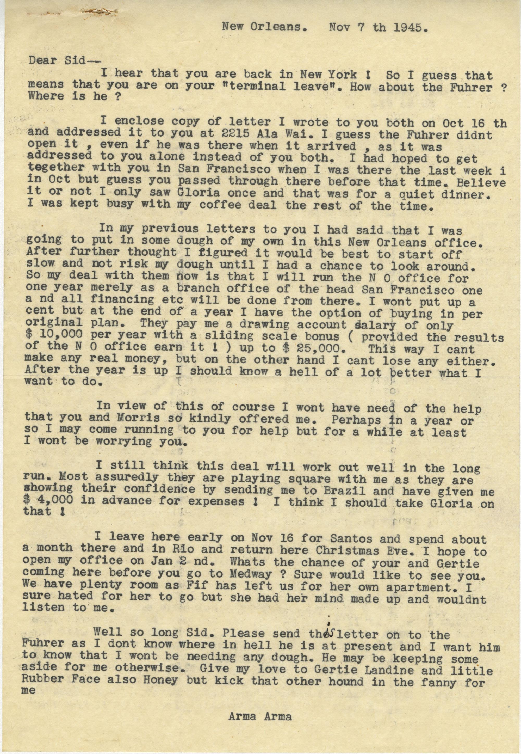 Letter from Armant Legendre, November 7, 1945