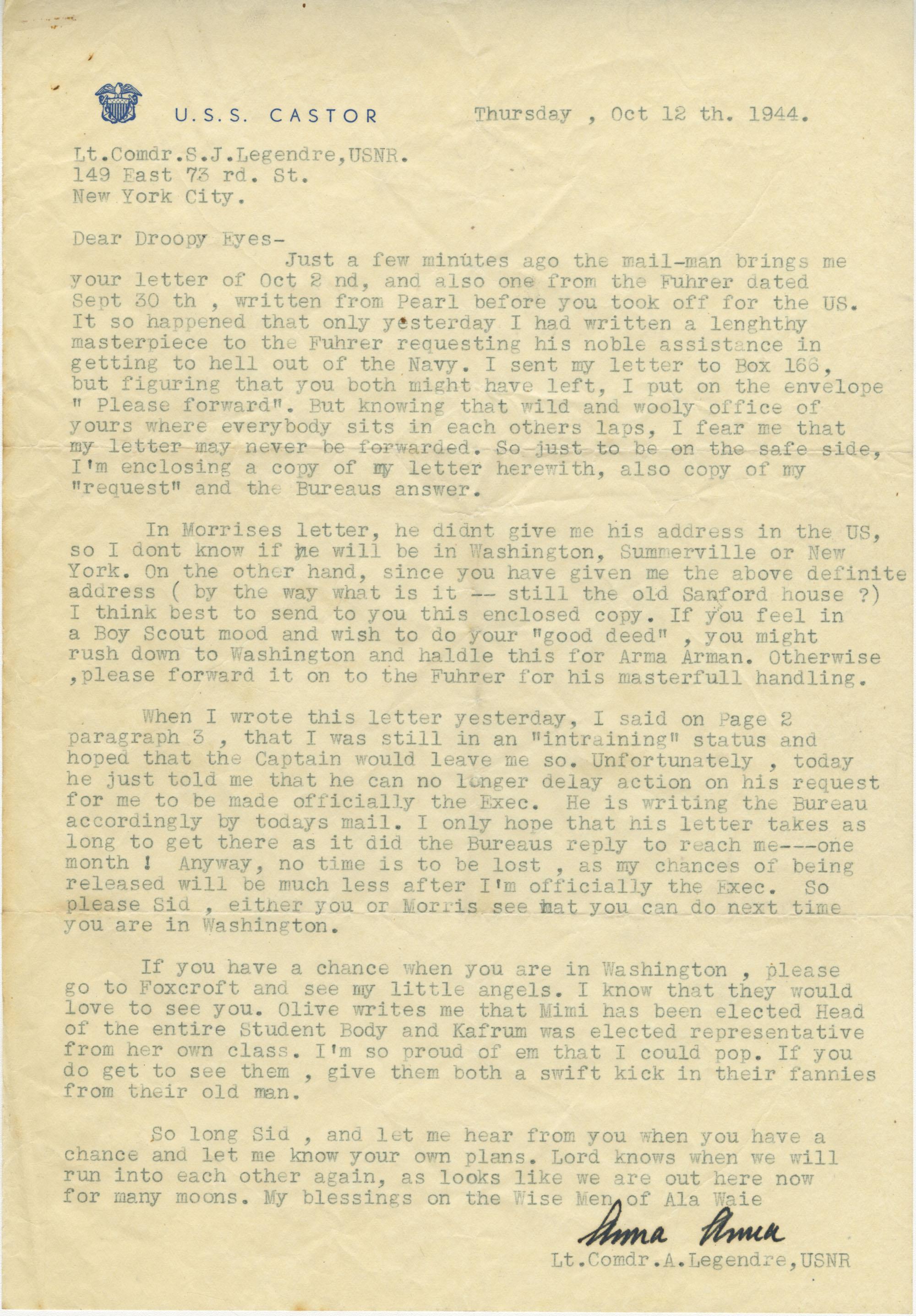 Letter from Armant Legendre, October 12, 1944
