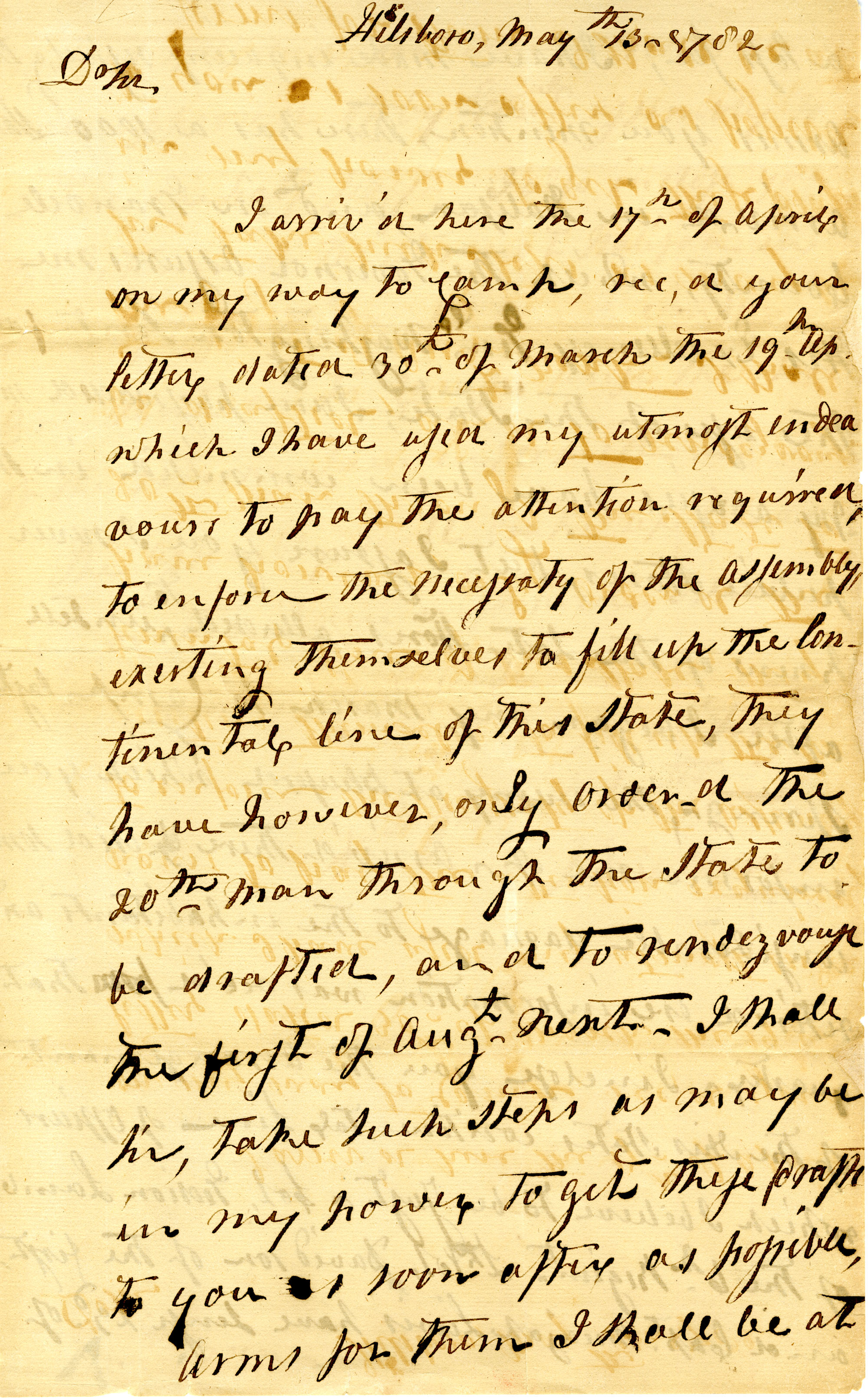 Letter from Jethro Sumner to Nathanael Greene