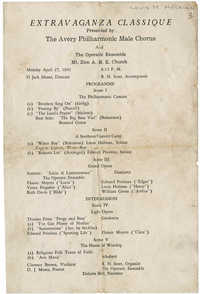 Program for an Extravaganza Classique