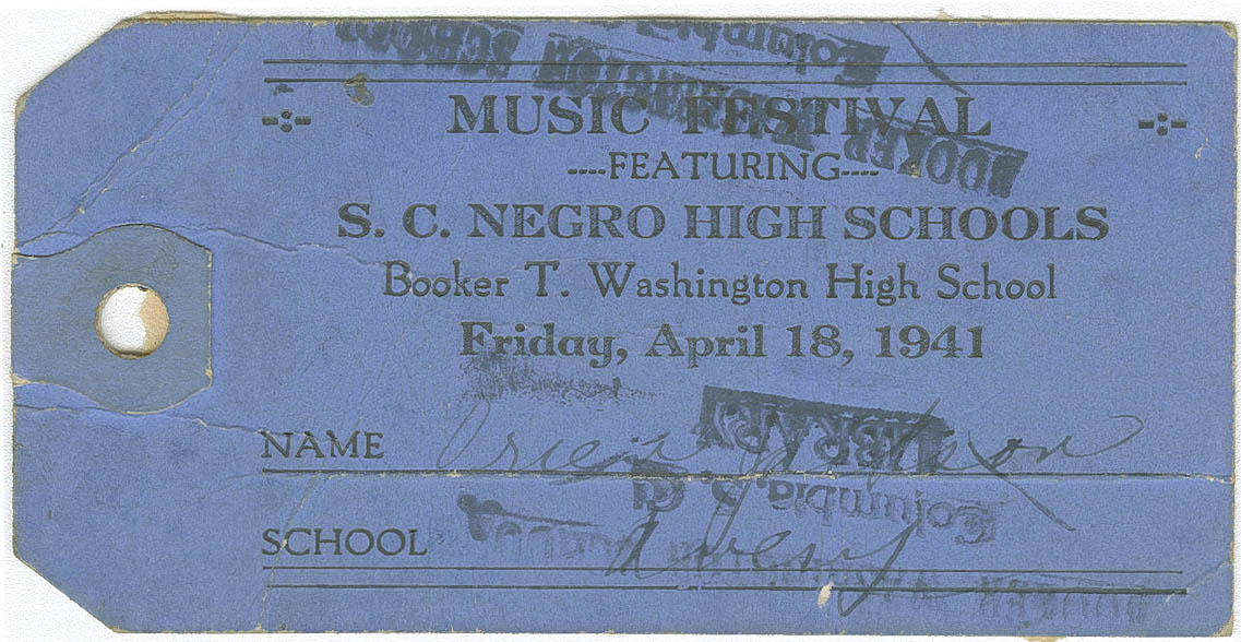 Ticket for music festival featureing S.C. Negro High Schools