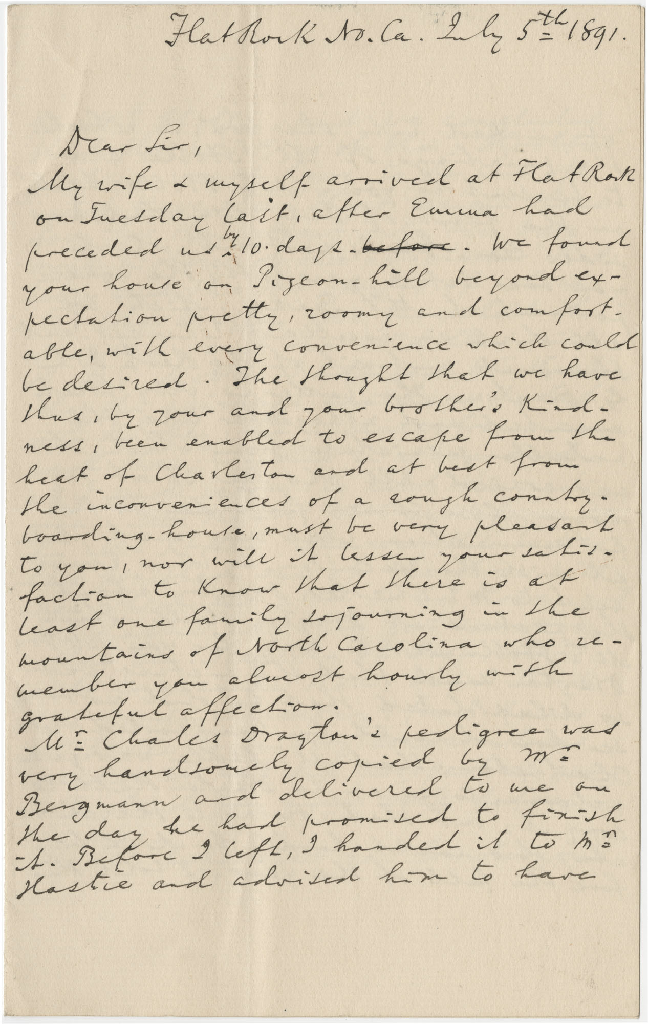 Letter from A. Sachtleben to J. Drayton Grimke-Drayton Esq., July 5, 1891