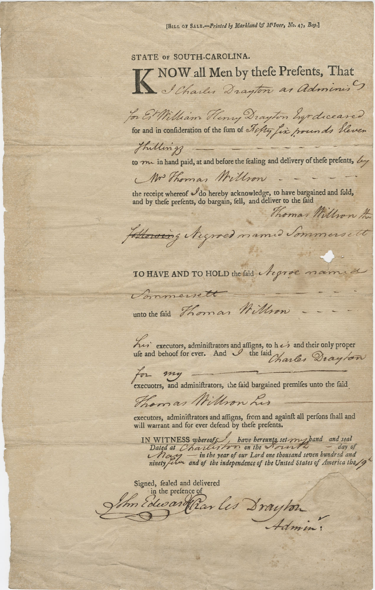 Bill of Sale to Thomas Willson for the purchase of a slave named Sommersett, May 4, 1795