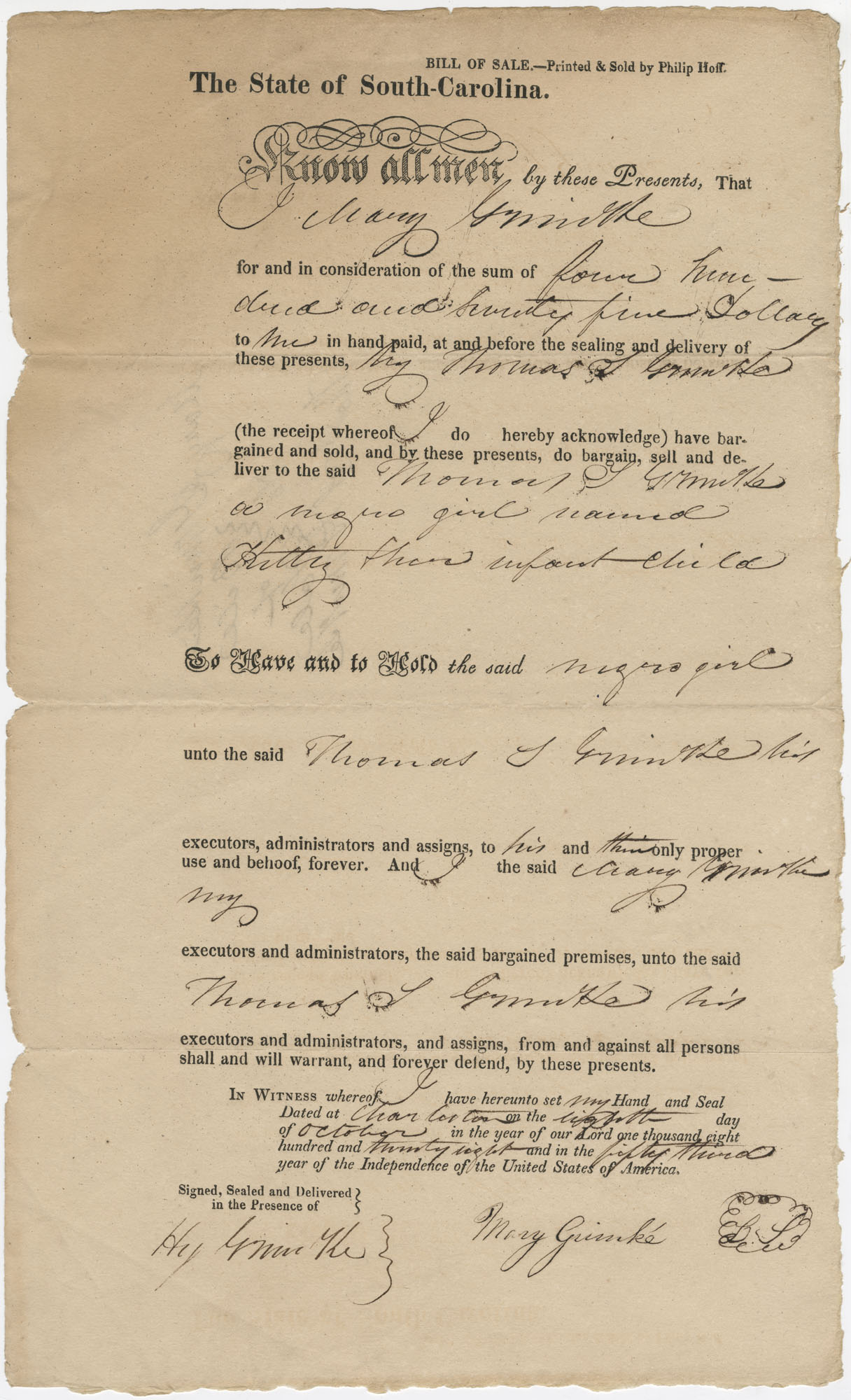 Bill of Sale to Thomas S. Grimke for the purchase of a slave named Hitty, October 8, 1828