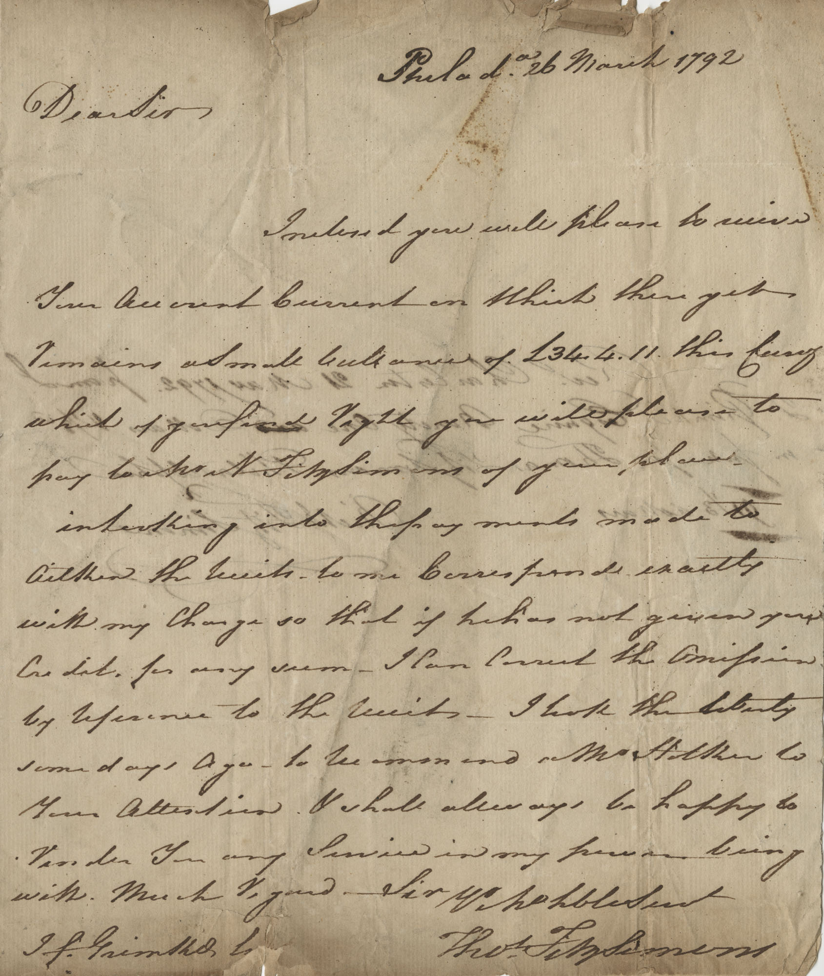 Letter to John F. Grimke from Thomas Fitzsimmons, March 26, 1792