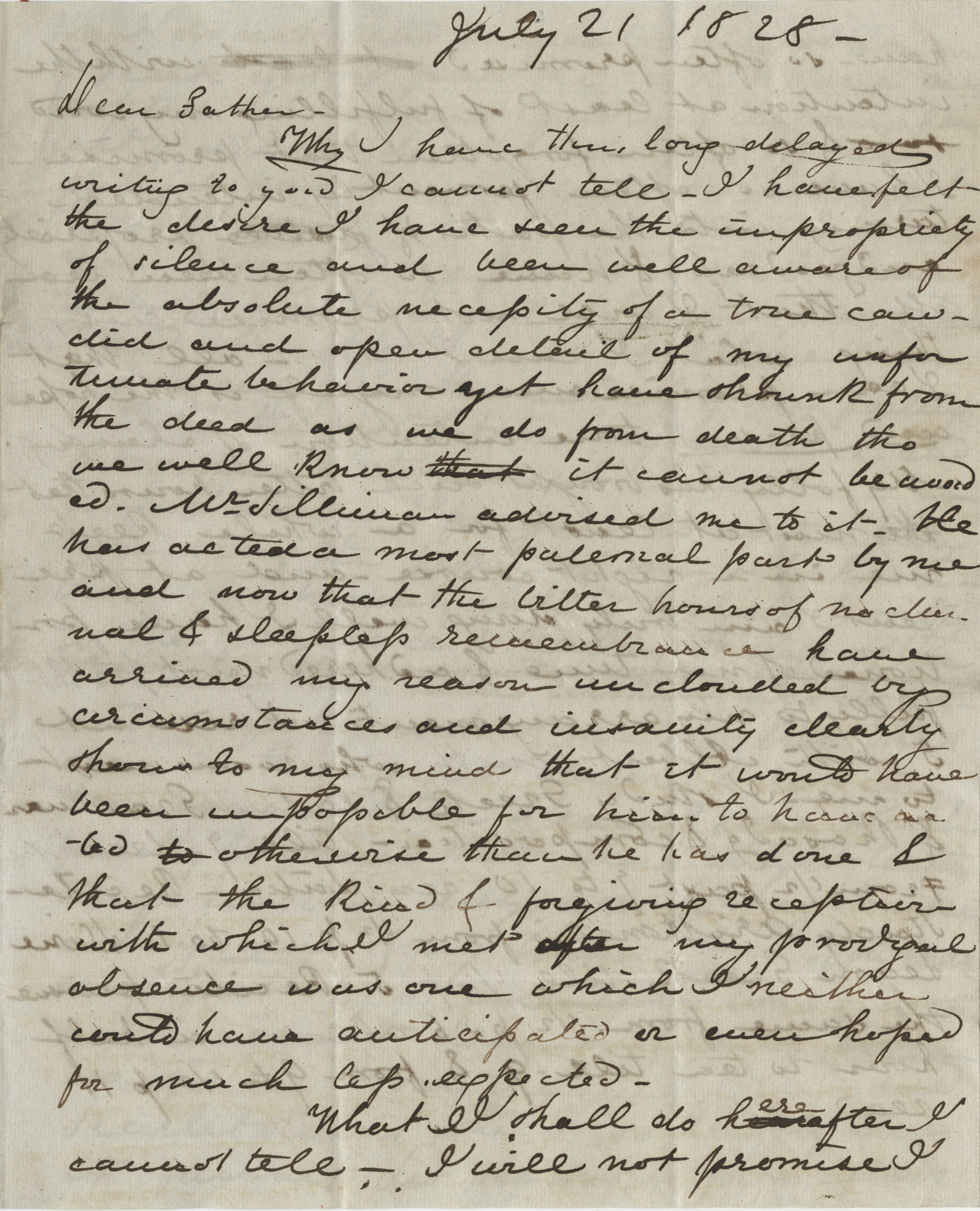 Letter from Drayton Grimke to his father, Thomas S. Grimke, July 21, 1828
