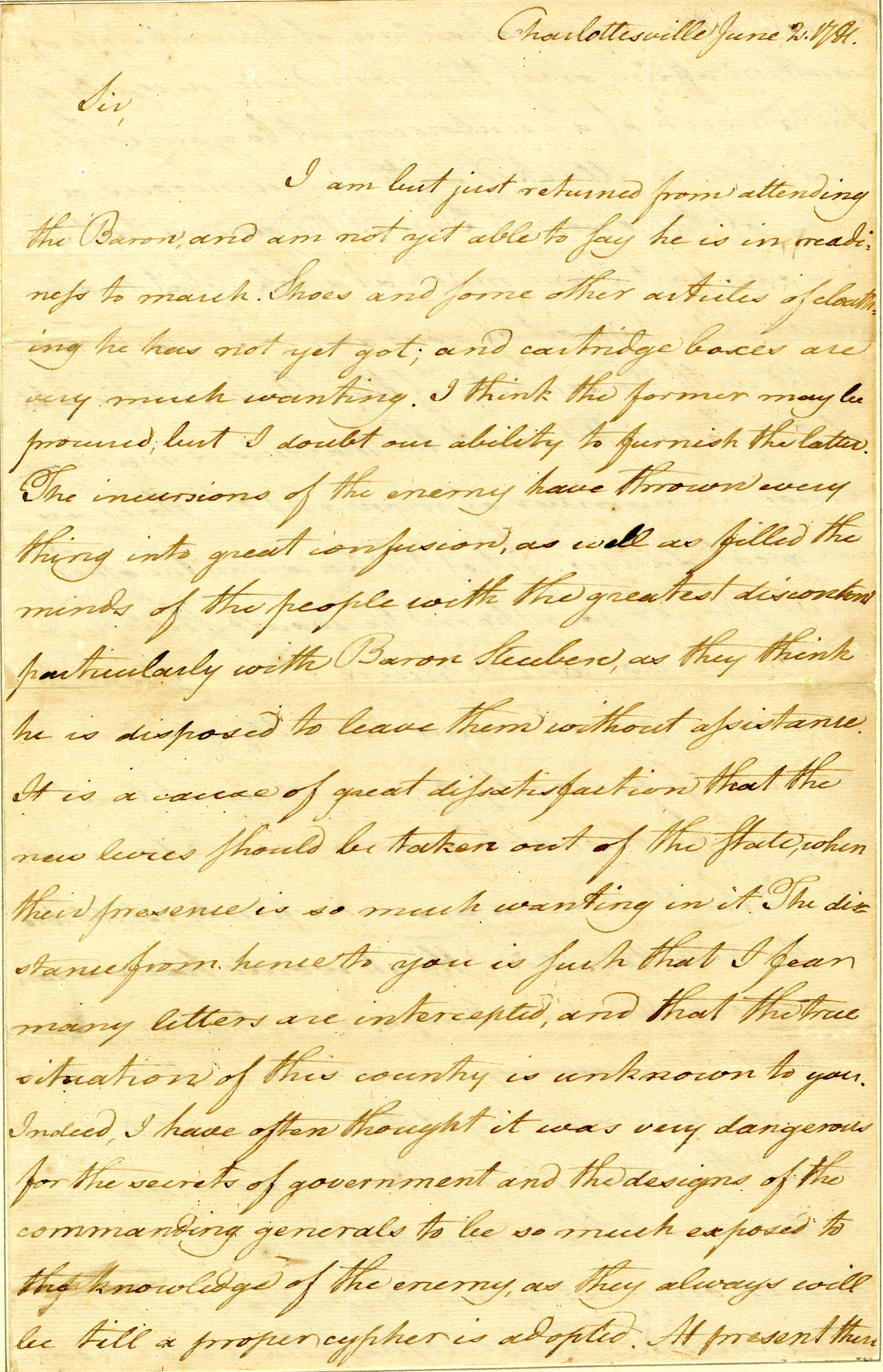 Letter from William Davies to Nathanael Greene