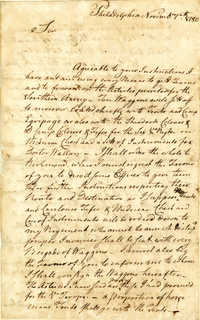 Letter from Christian Febiger to Nathanael Greene