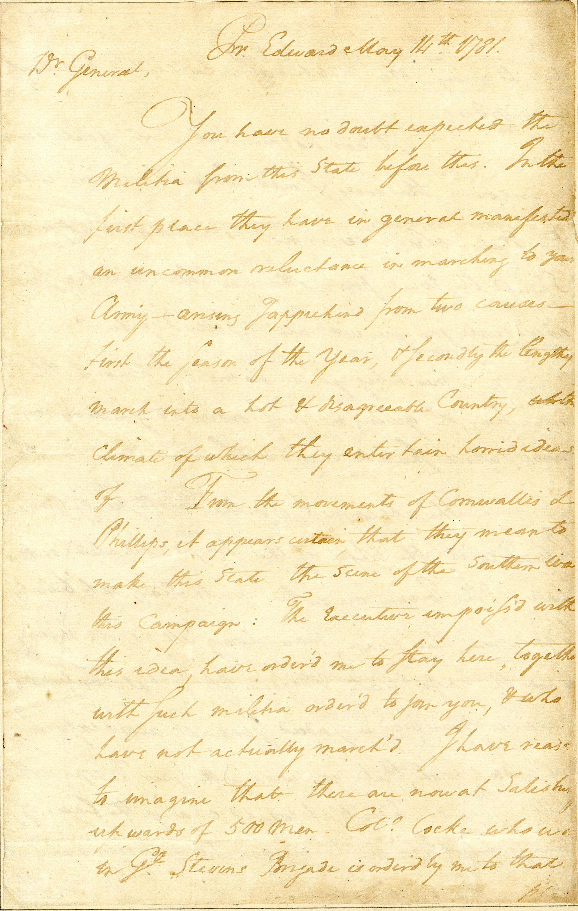 Letter from Robert Lawson to Nathanael Greene
