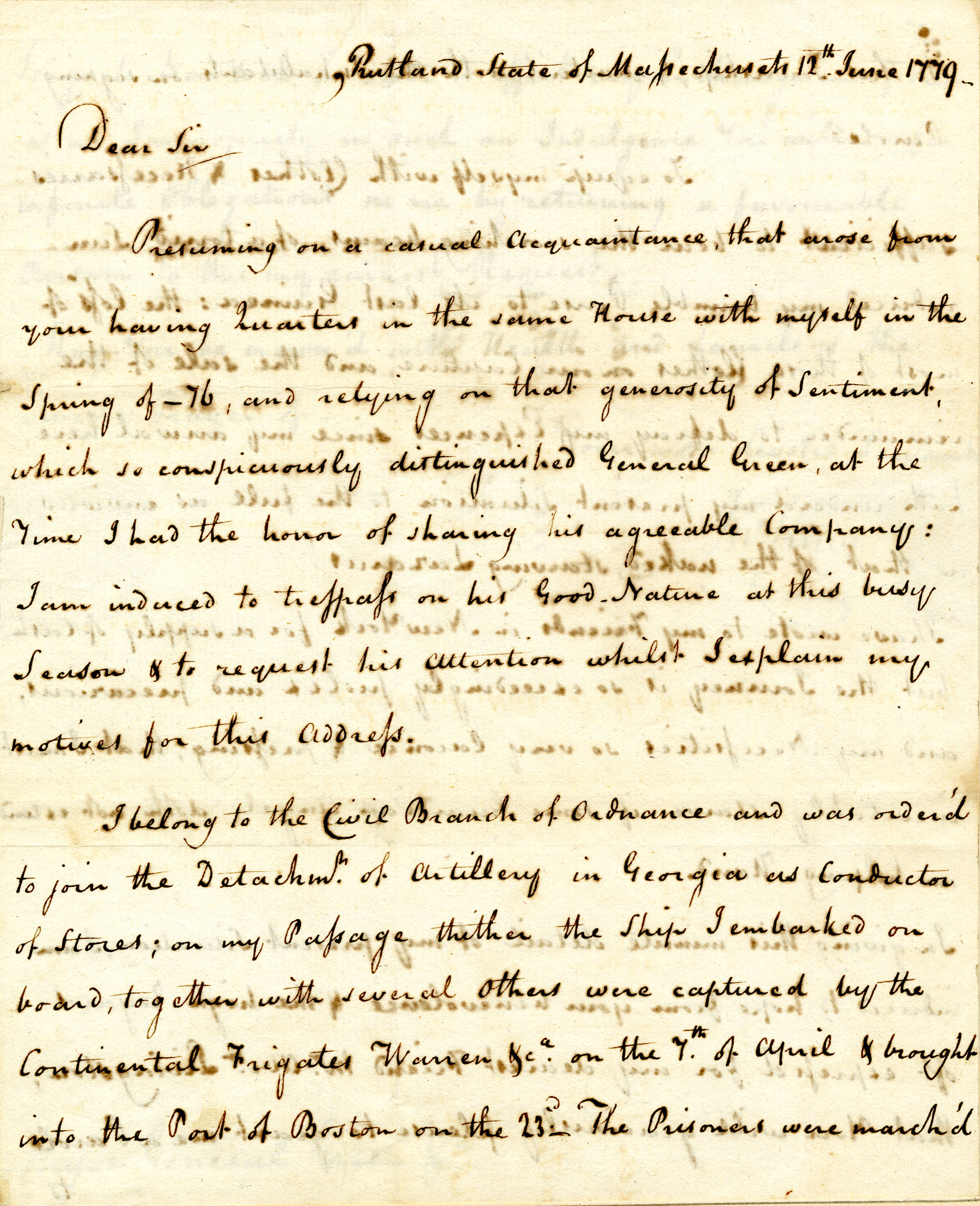 Letter from John King to Major General Nathanael Greene