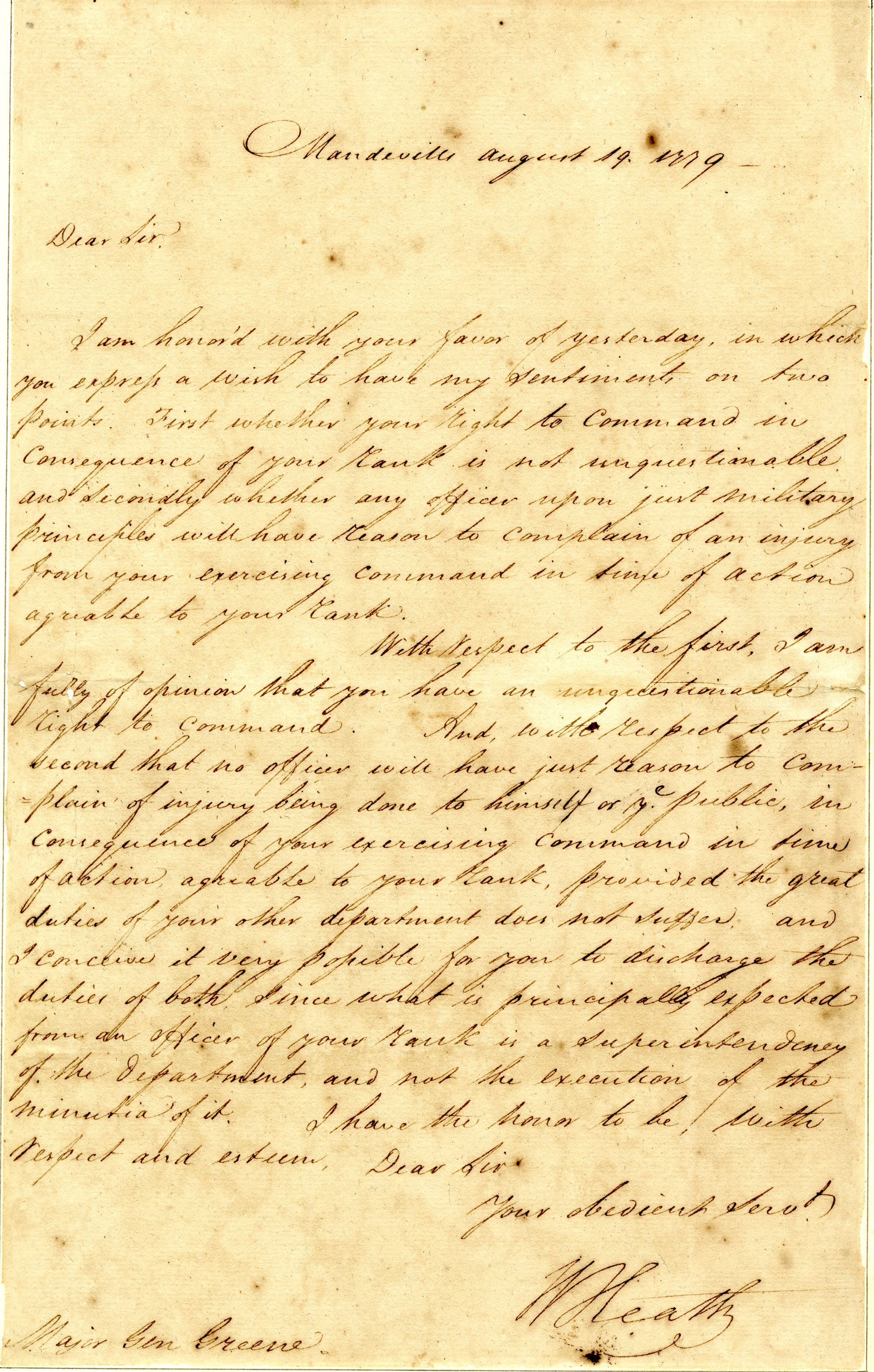 Letter from William Heath to Nathanael Green