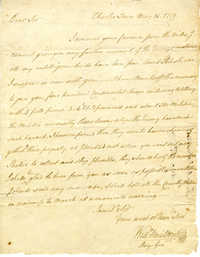 Letter from William Moultrie to Benjamin Lincoln