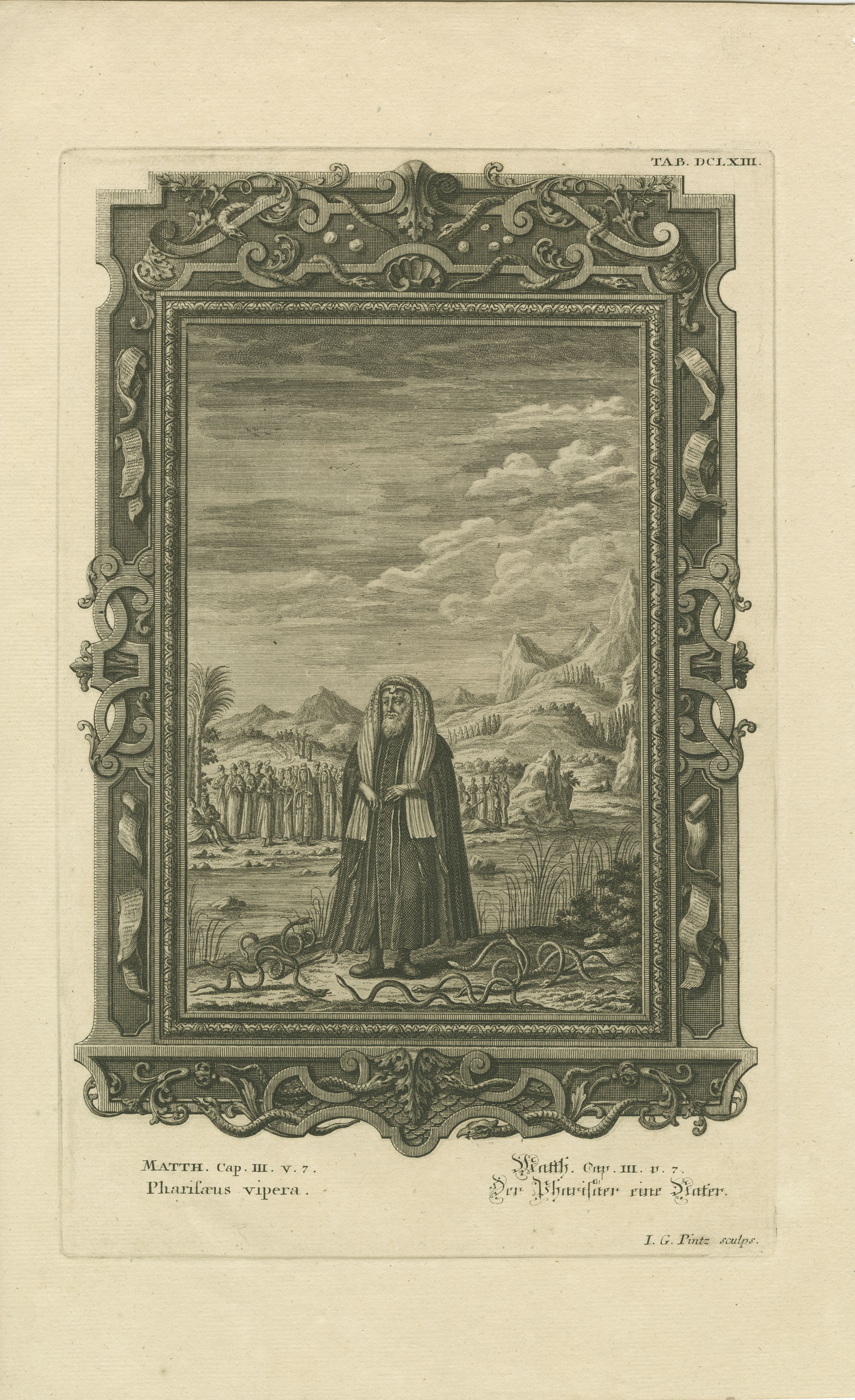 Matth. Cap. III. v. 7 Pharisæus vipera / Matth. Cap. III. v. 7 Der Pharisäer eine Nater