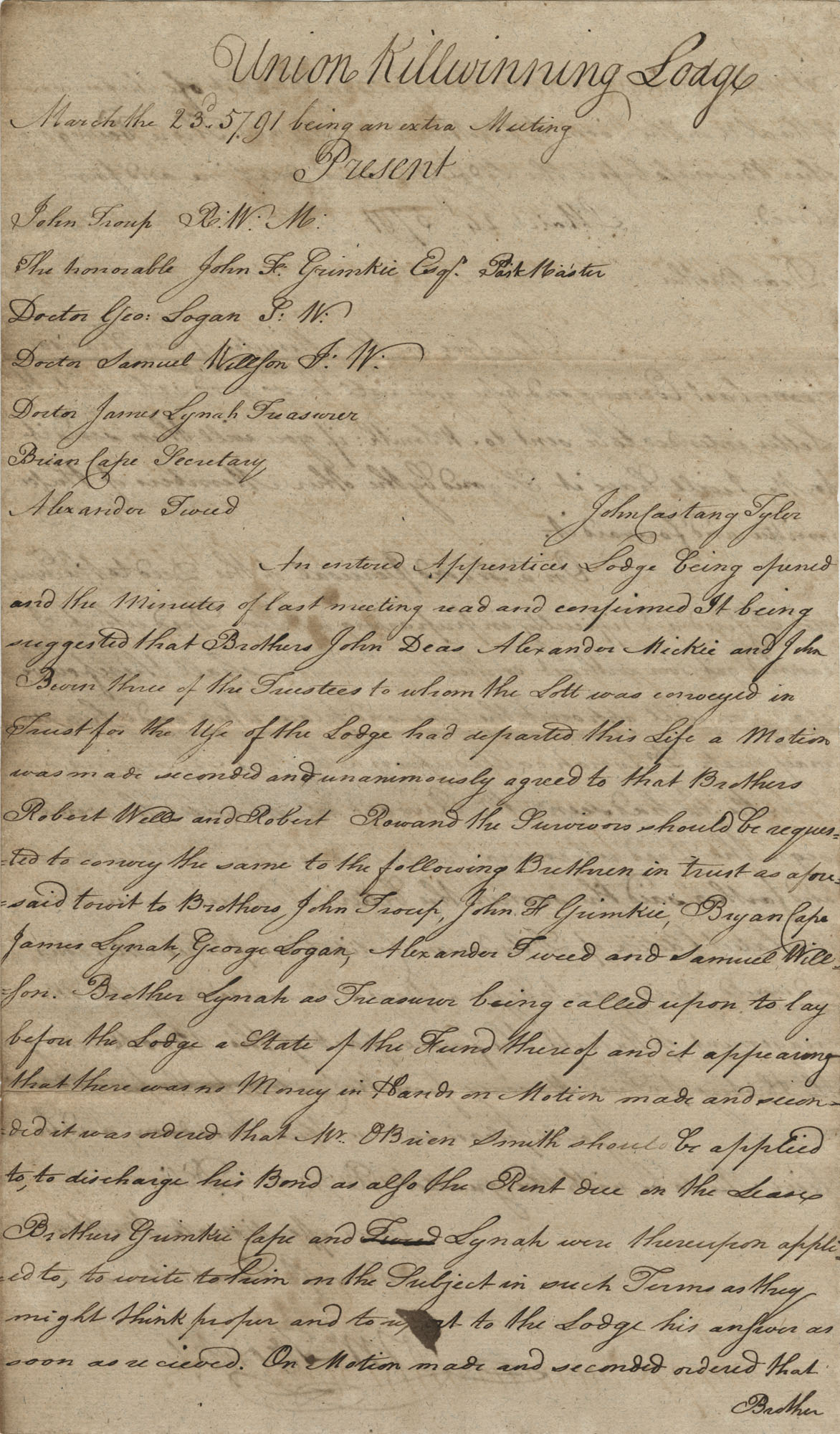 Letter to John F. Grimke from John Troup with attached minutes from a Freemason's meeting, March 24, 1791