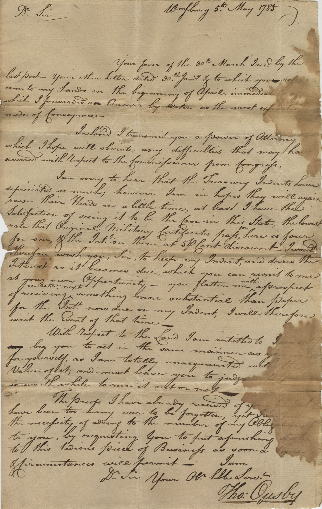 Letter to John F. Grimke from Thomas Ousby, May 5, 1785