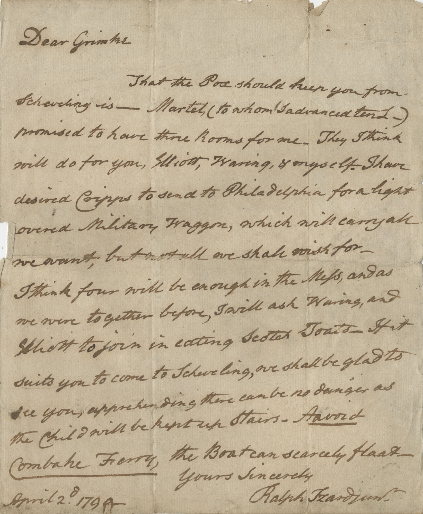 Letter to John F. Grimke from Ralph Izard, April 2, 1790