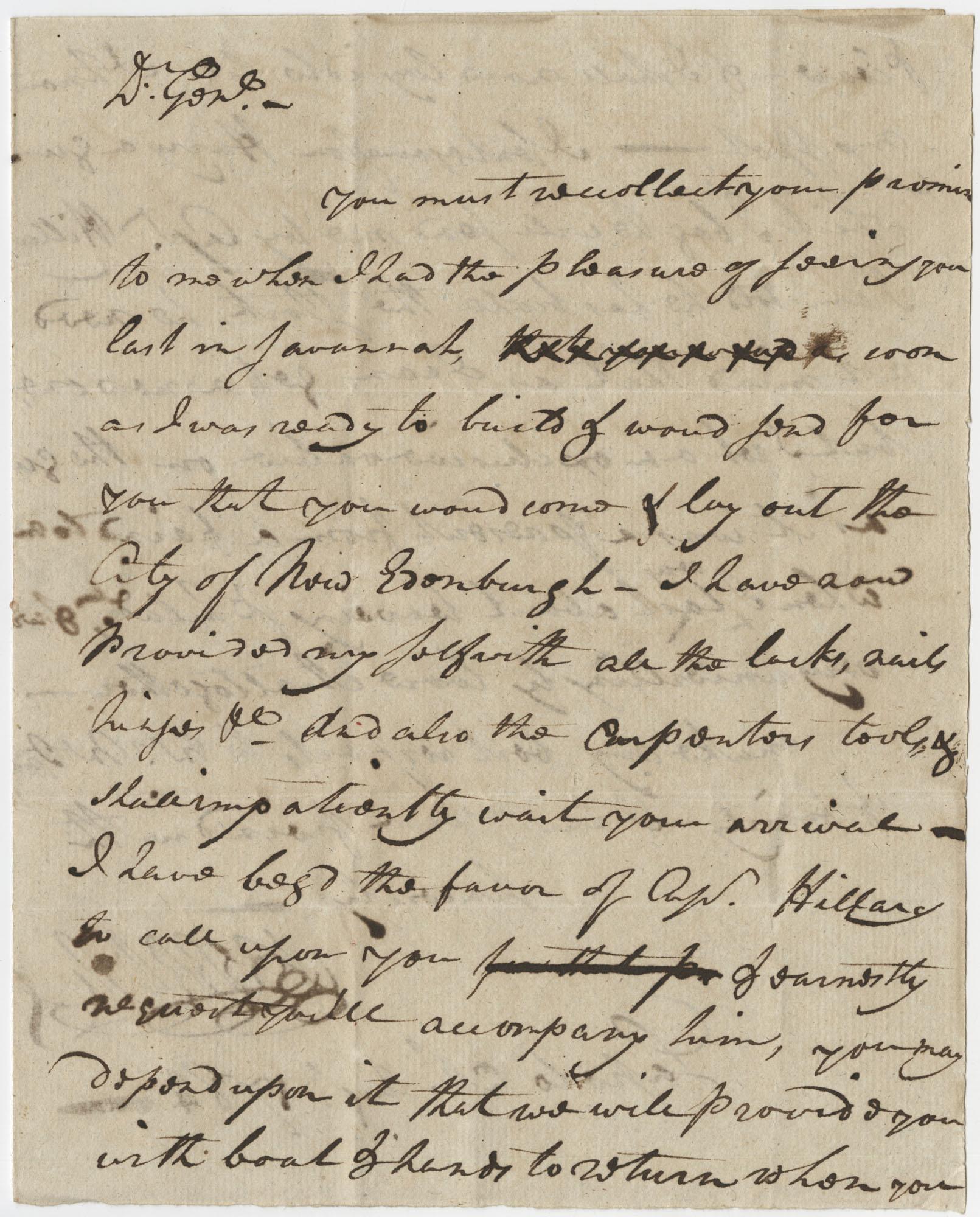 Letter to Major General McIntosh from Major [John?] Berrien, August 20, 1784