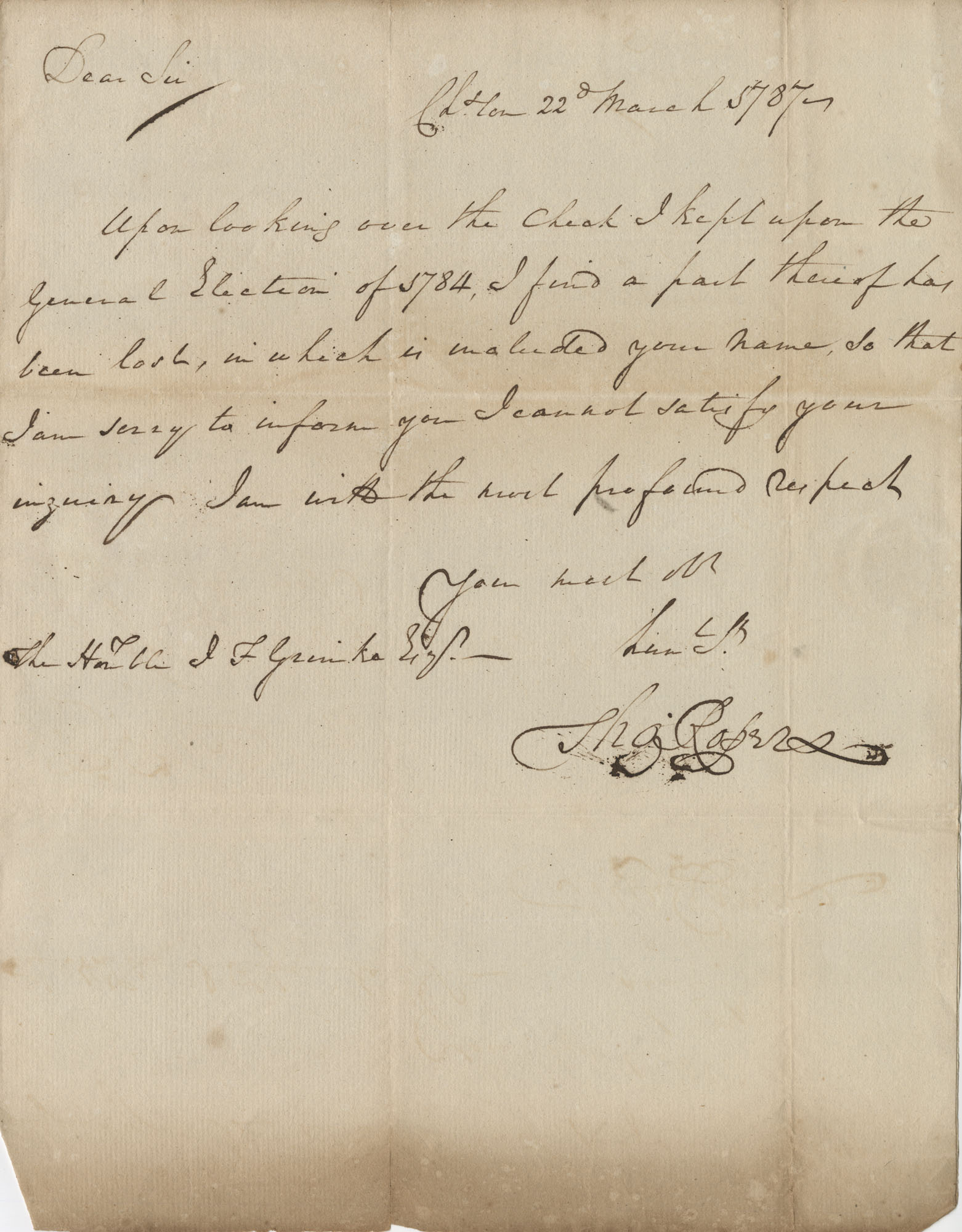 Letter to John F. Grimke from Thomas Roper, March 22, 1787