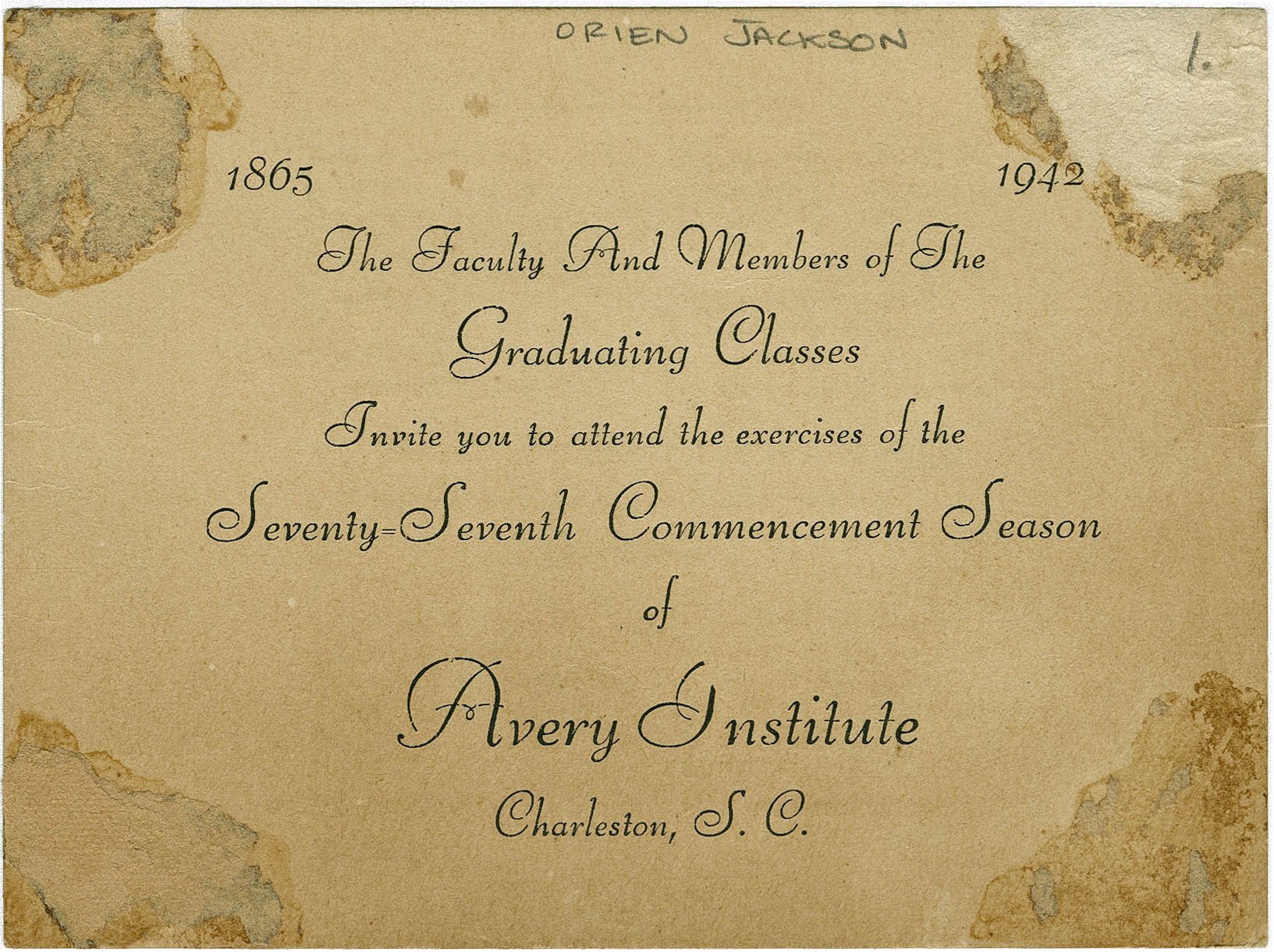 Invitation to Avery Normal Institute Commencement Exercises