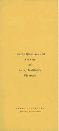 Booklet on Avery Institute's finances.