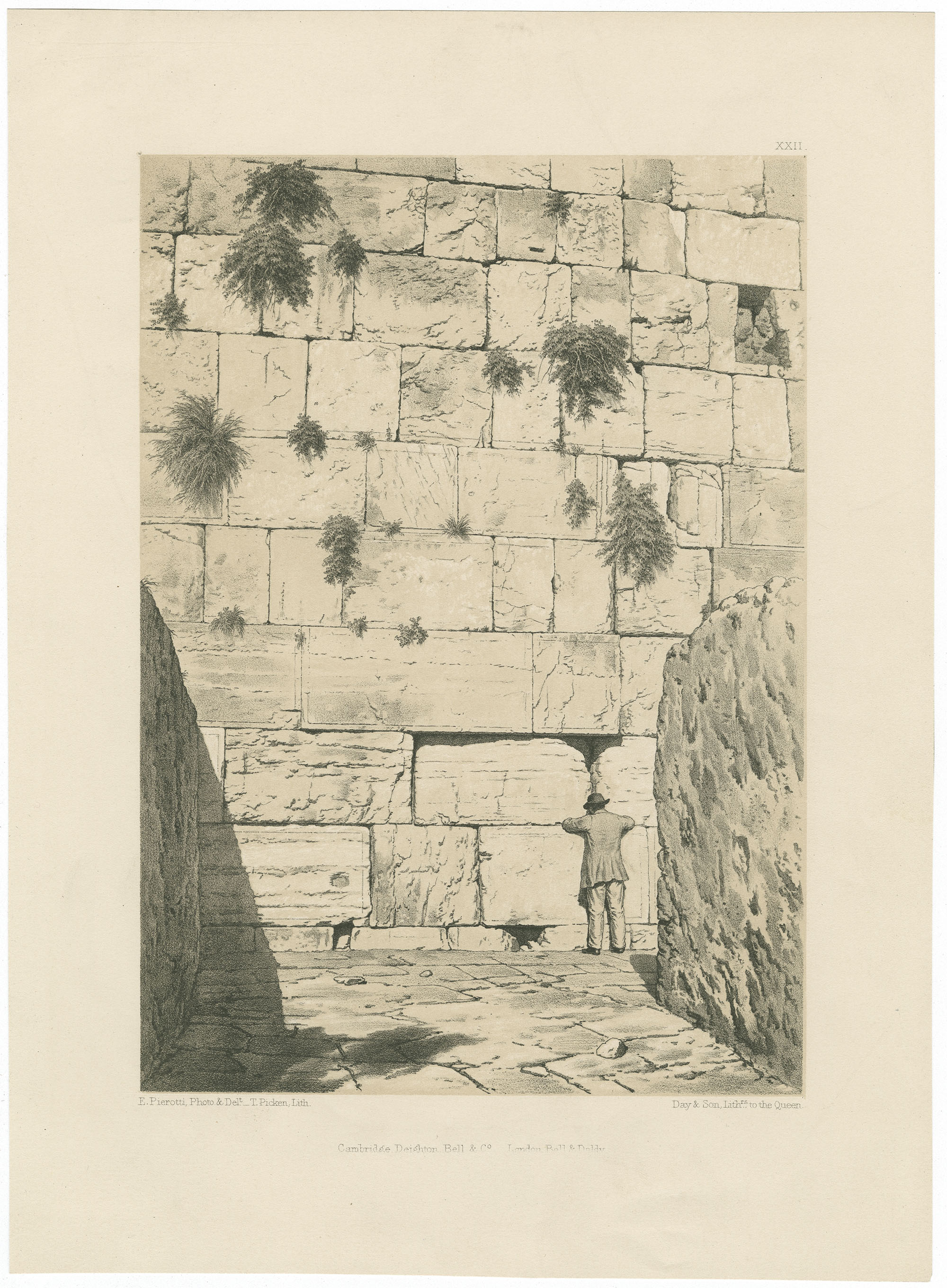 [Wailing-place of the Jews. A portion of the ancient wall of the temple enclosure.]