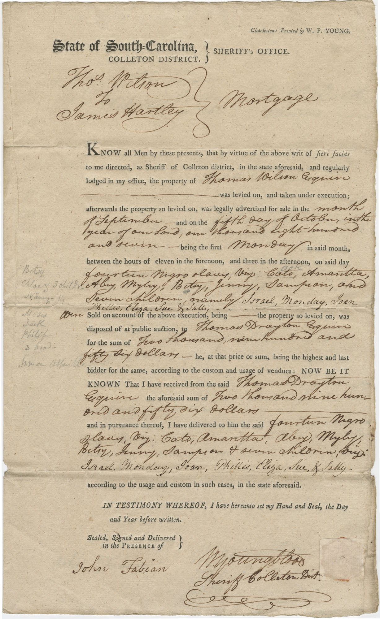 Bill of Sale for fourteen slaves to James Hartley of Colleton District, South Carolina, October 5, 1807