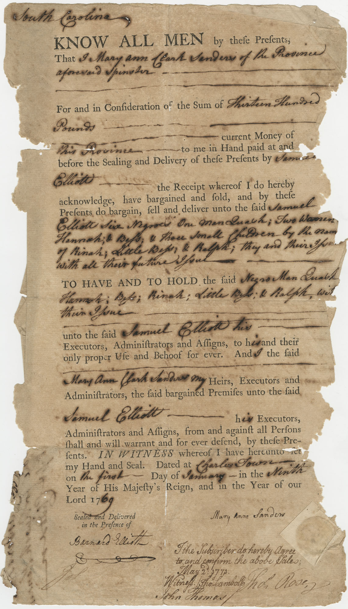 Bill of Sale for six slaves to Mary Ann Clark Sanders of Charleston, South Carolina, May 2, 1773