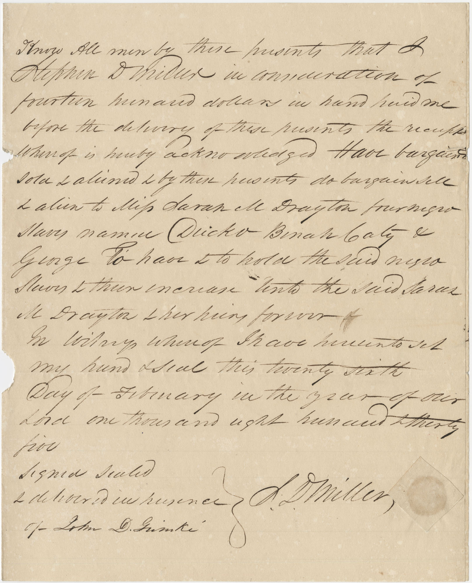 Bill of Sale for four slaves to Sarah M Drayton, February 26, 1825